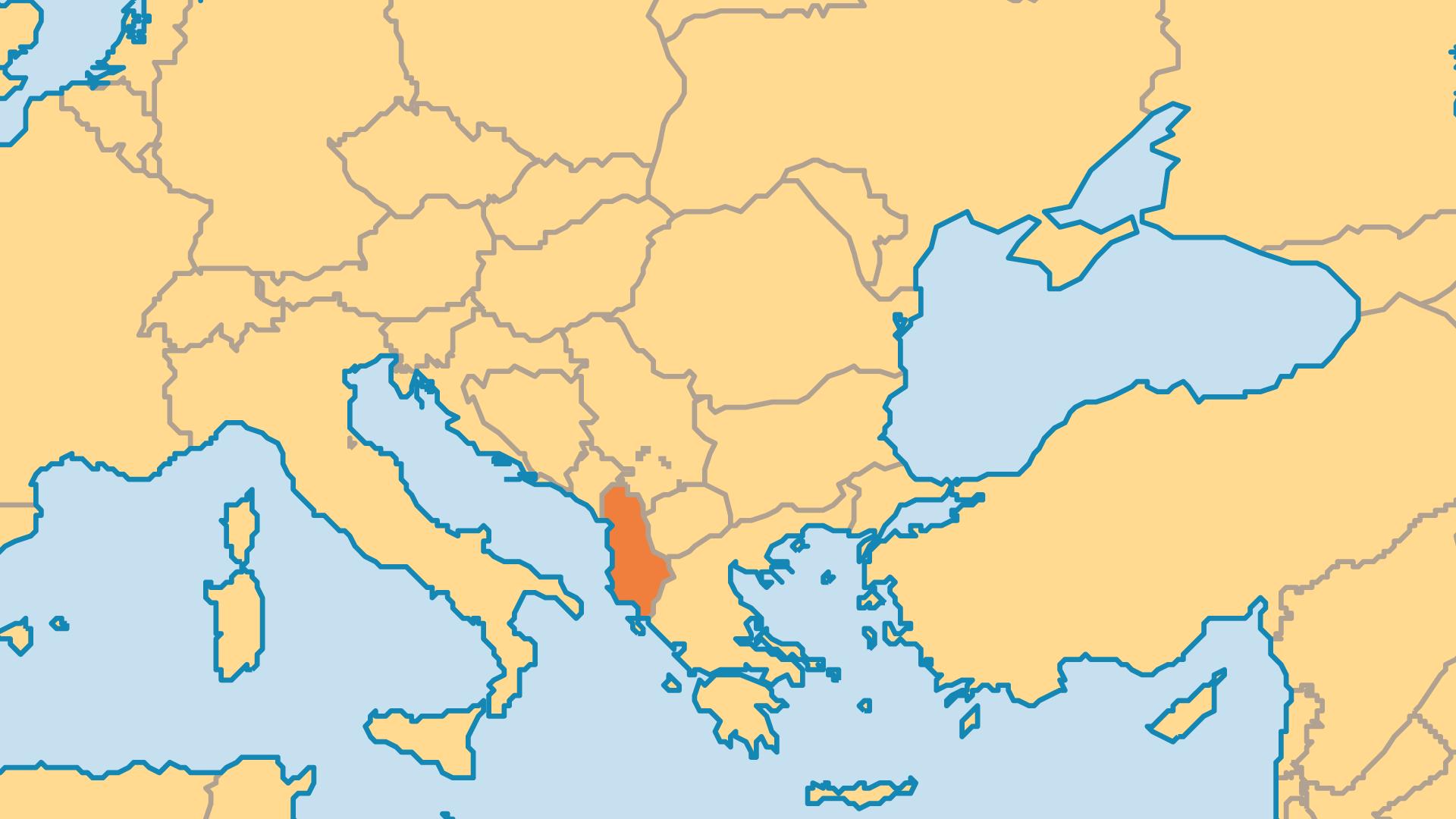 Locator Map for Albania