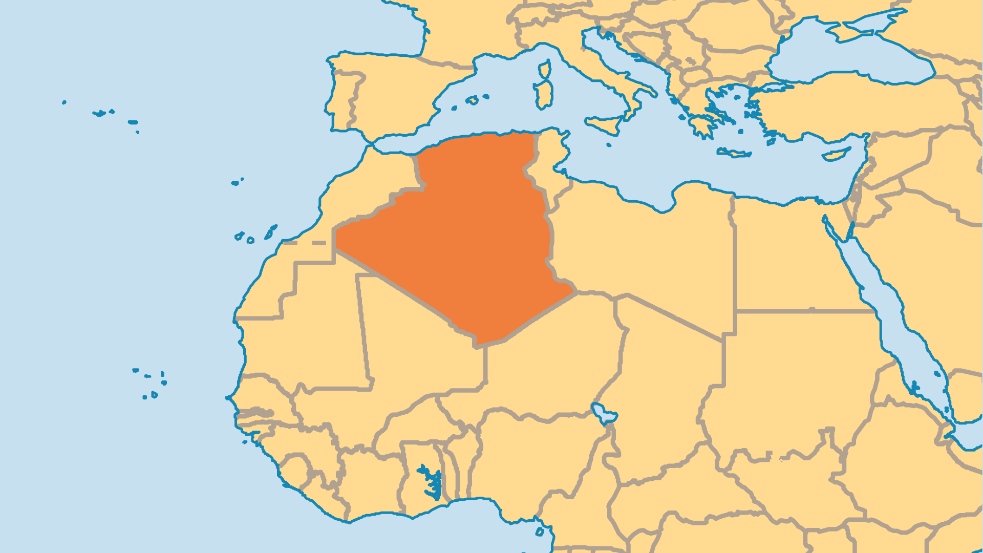 Locator Map for Algeria