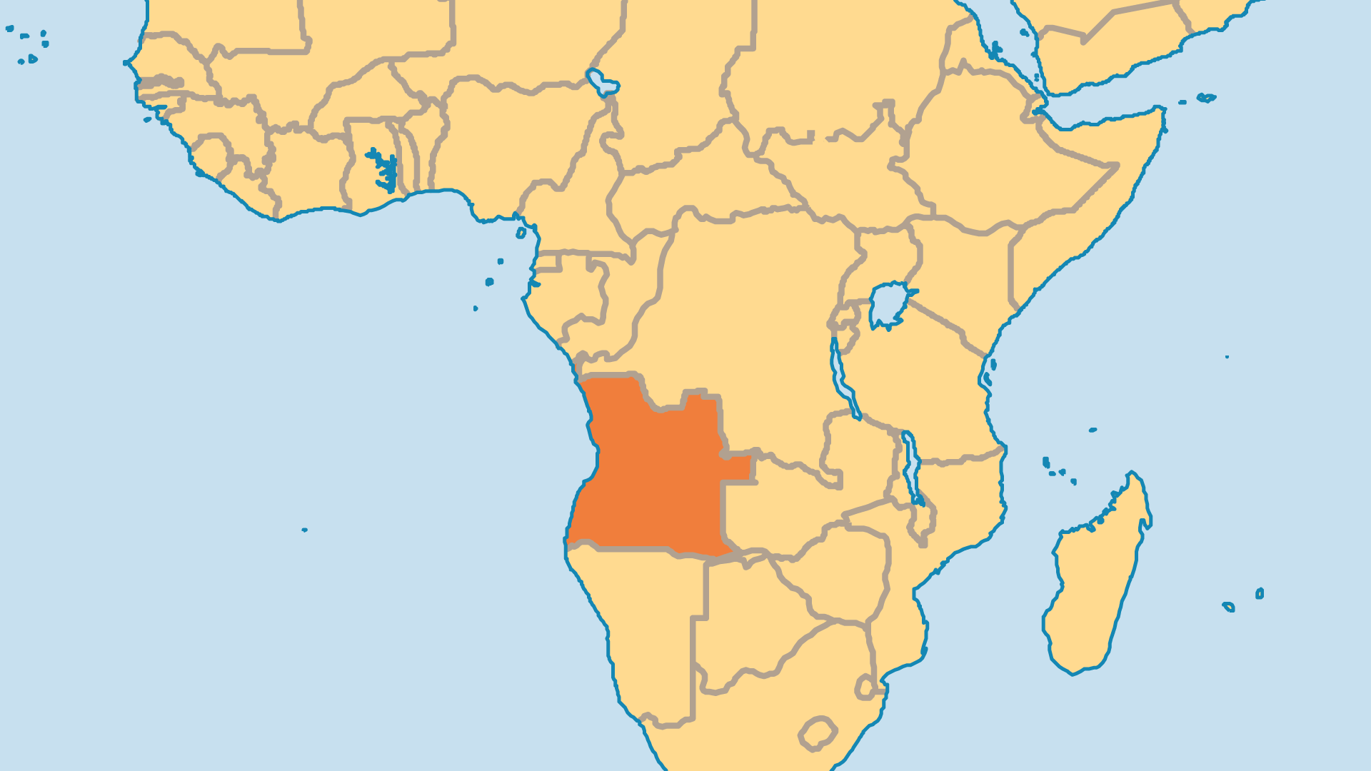 Locator Map for Angola