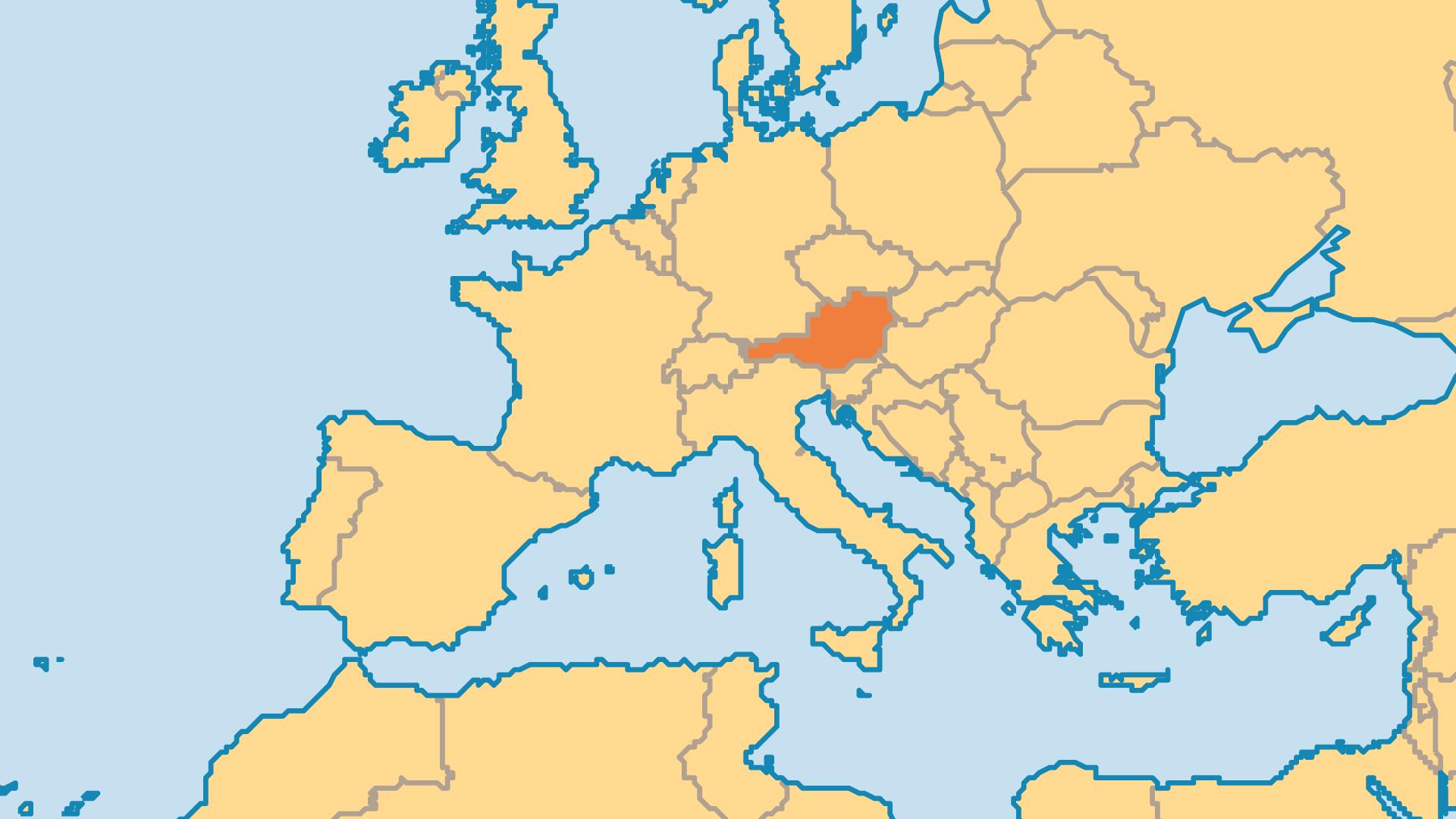 Locator Map for Austria