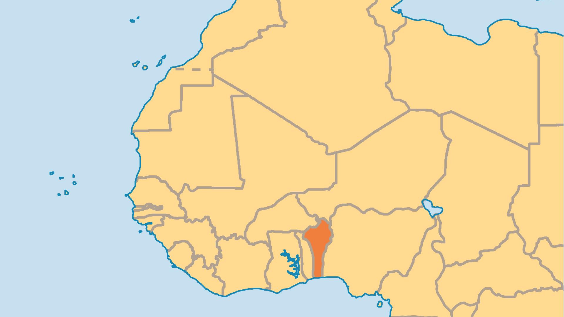 Locator Map for Benin