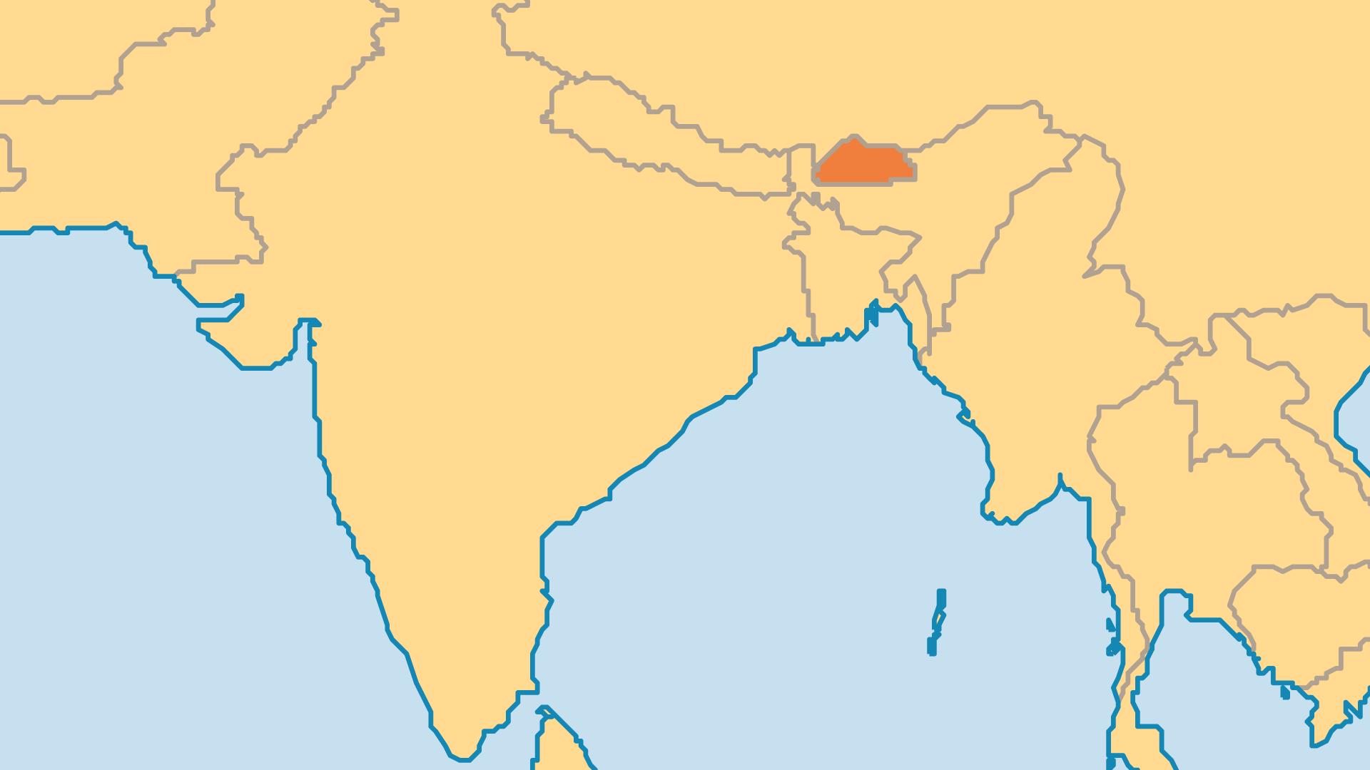 Locator Map for Bhutan