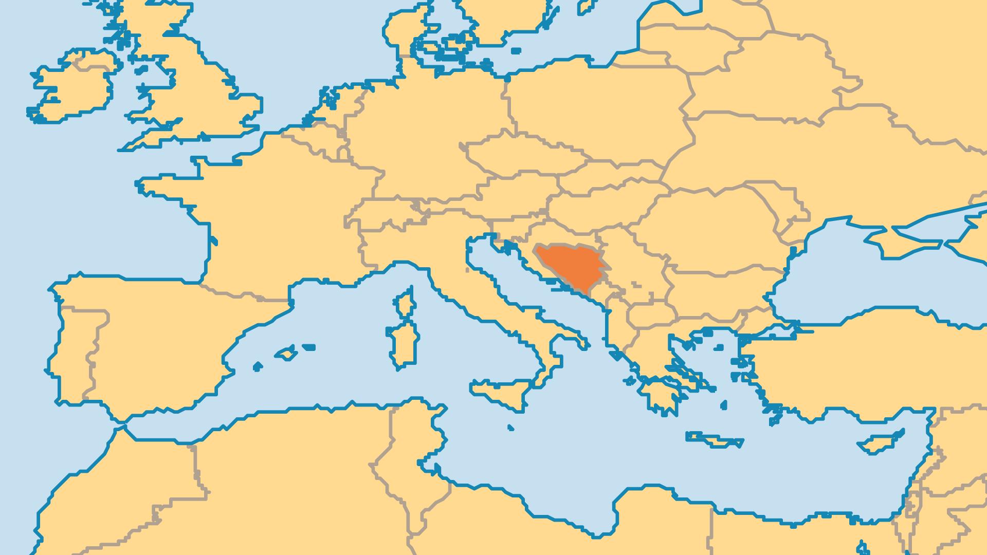 Locator Map for Bosnia
