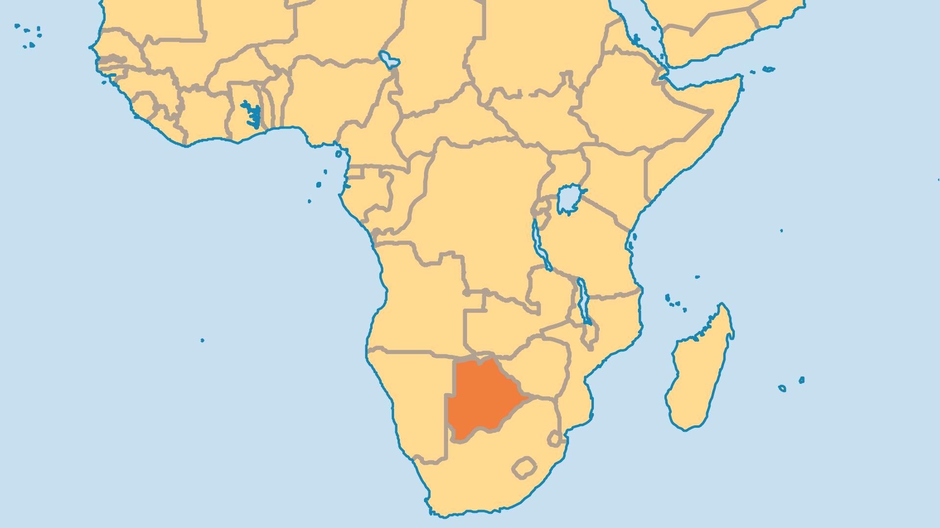 Locator Map for Botswana