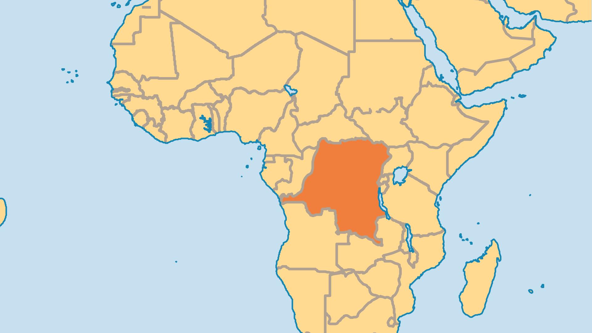 Locator Map for Democratic Republic of Congo (DRC)