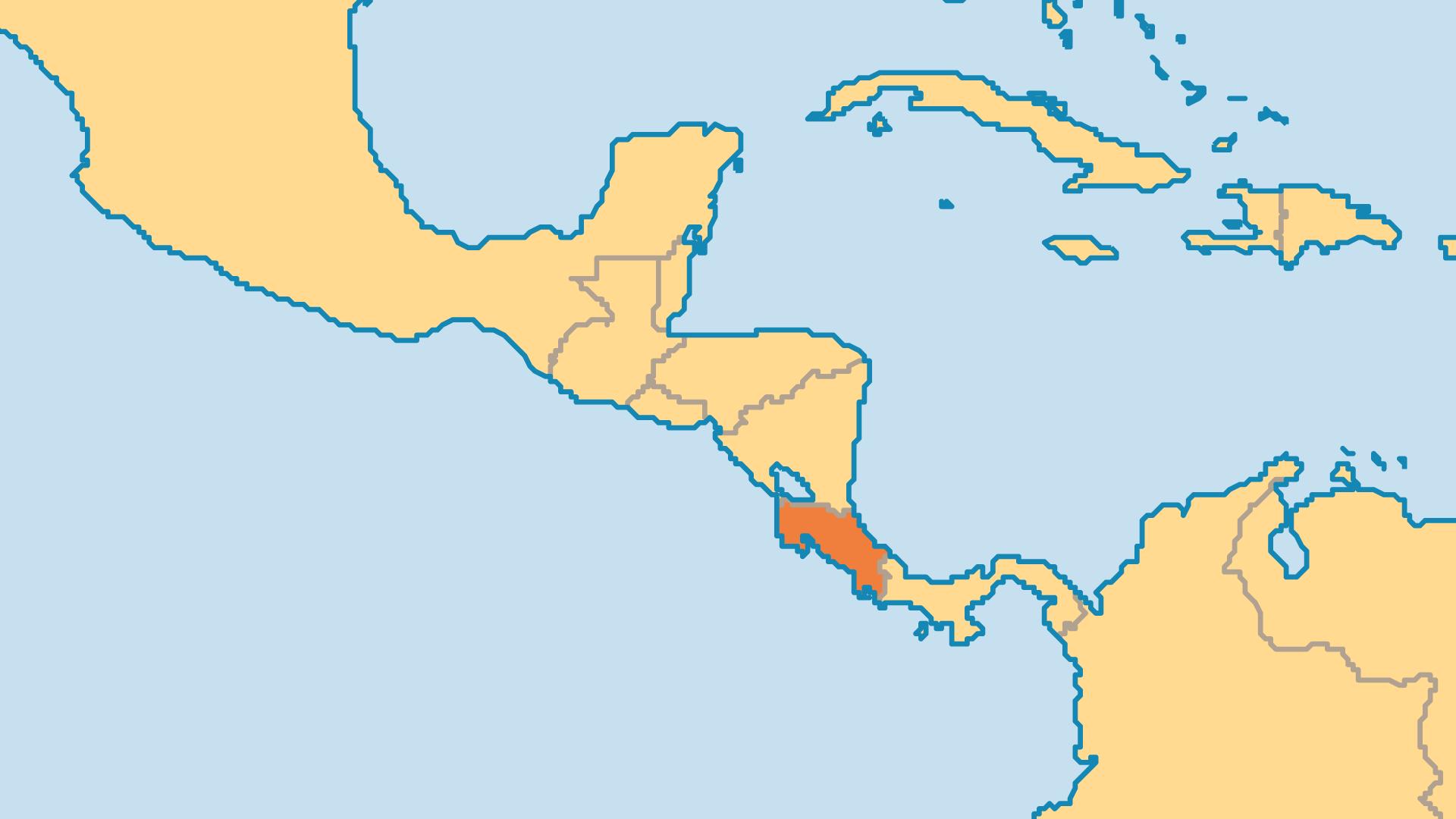 Locator Map for Costa Rica