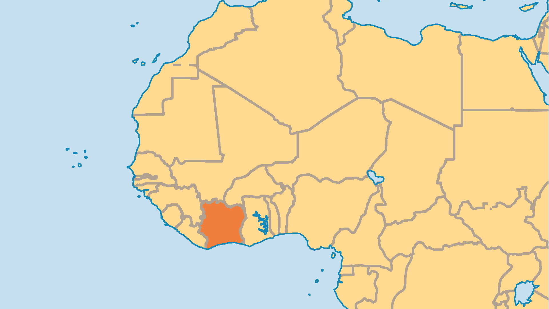 Locator Map for Cote d'Ivoire