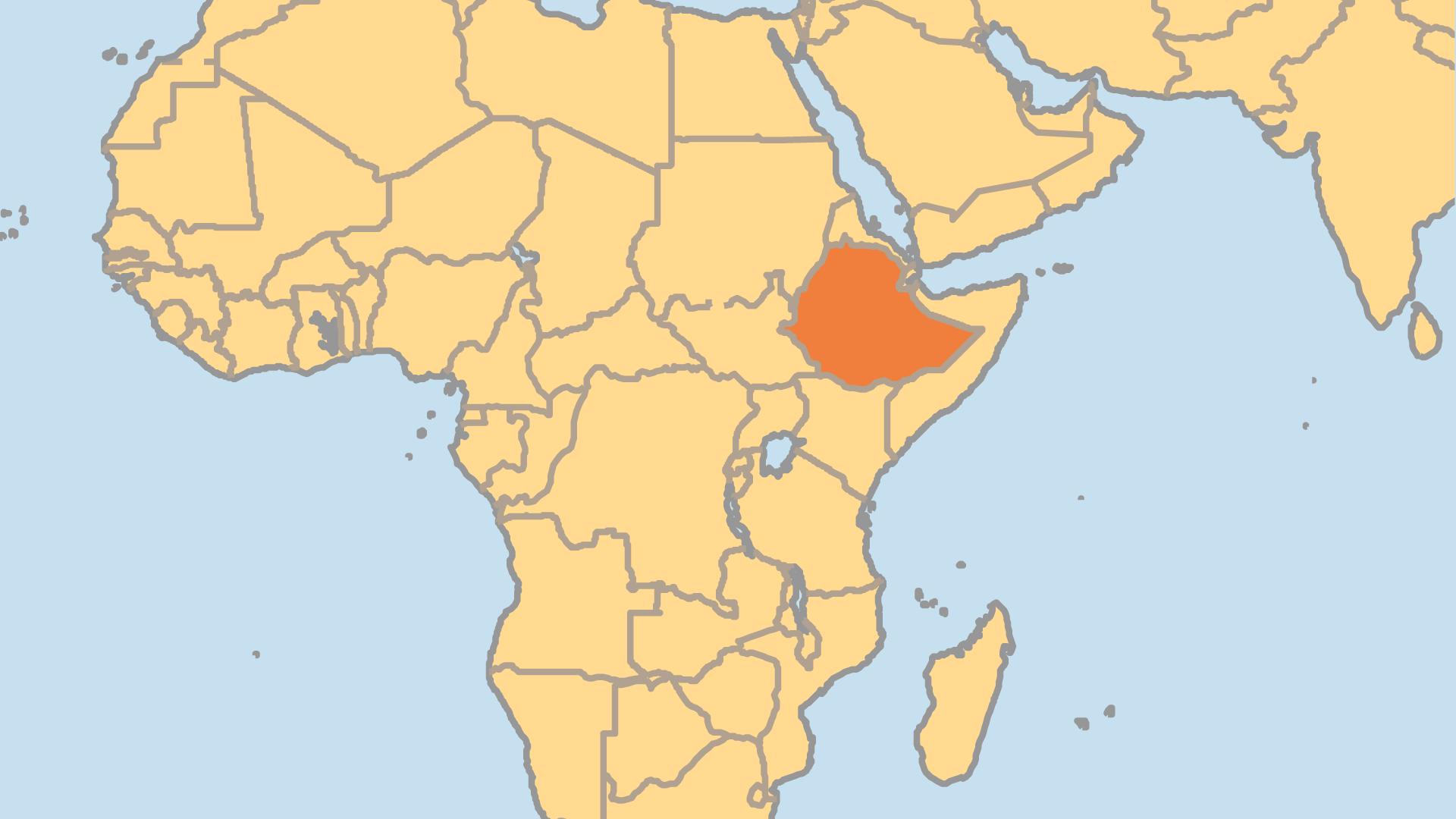 Locator Map for Ethiopia