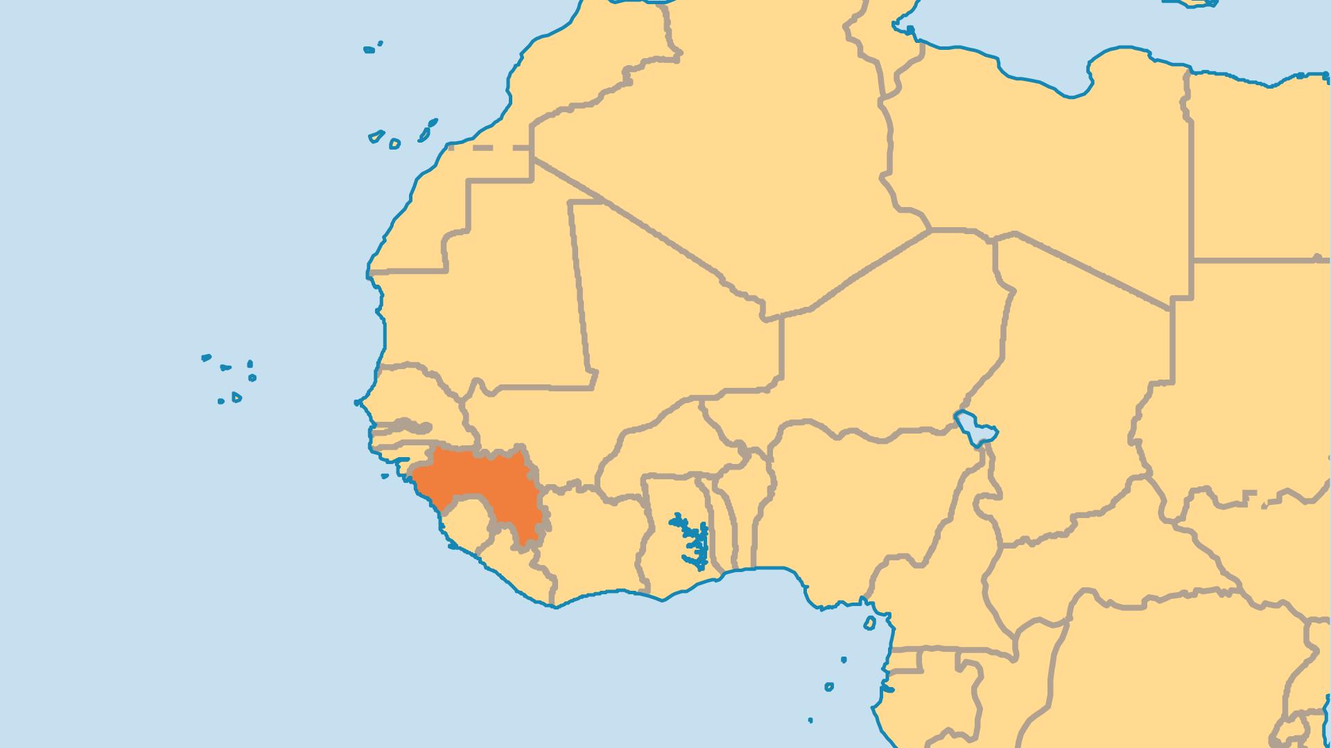 Locator Map for Guinea