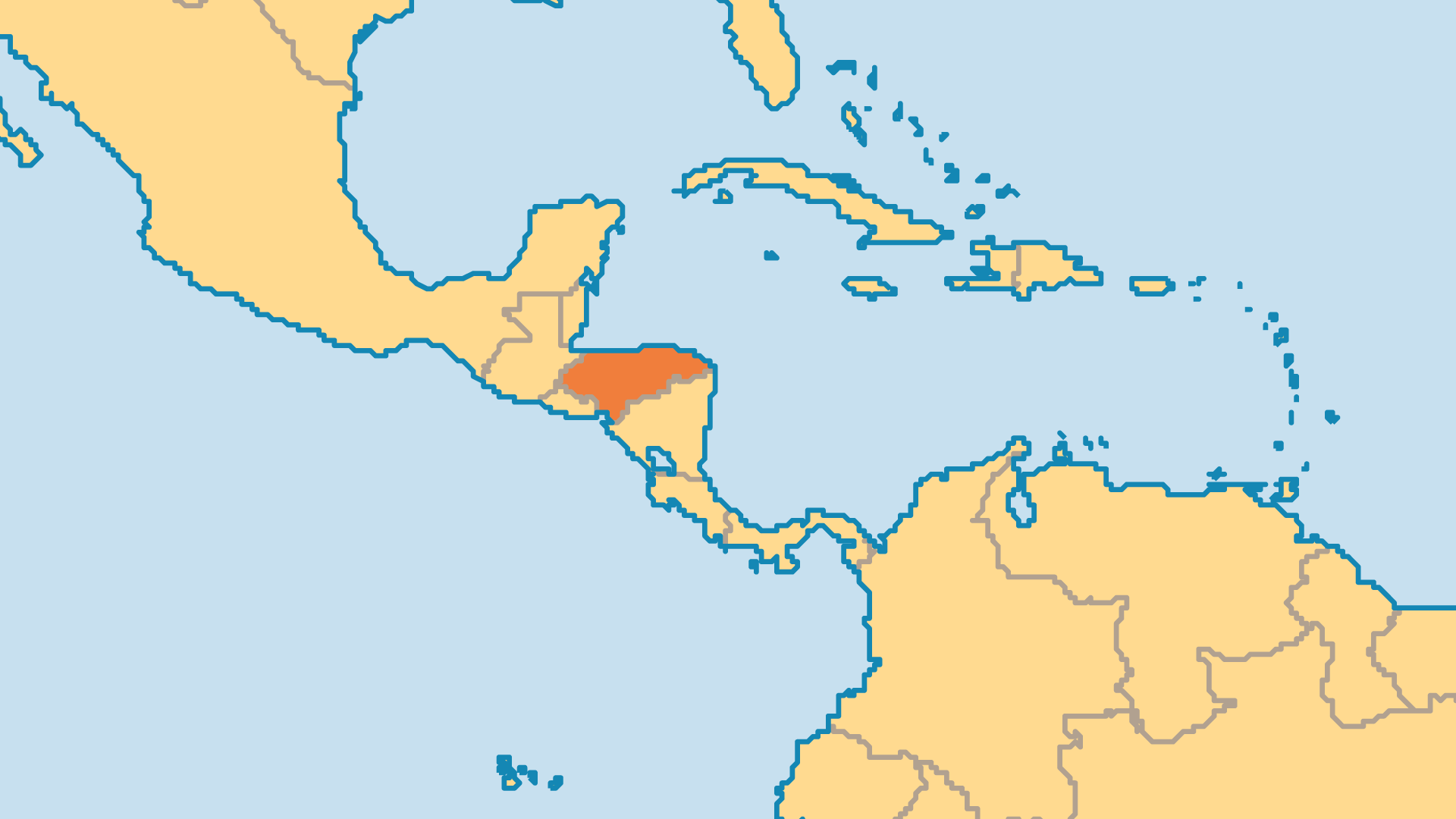 Locator Map for Honduras