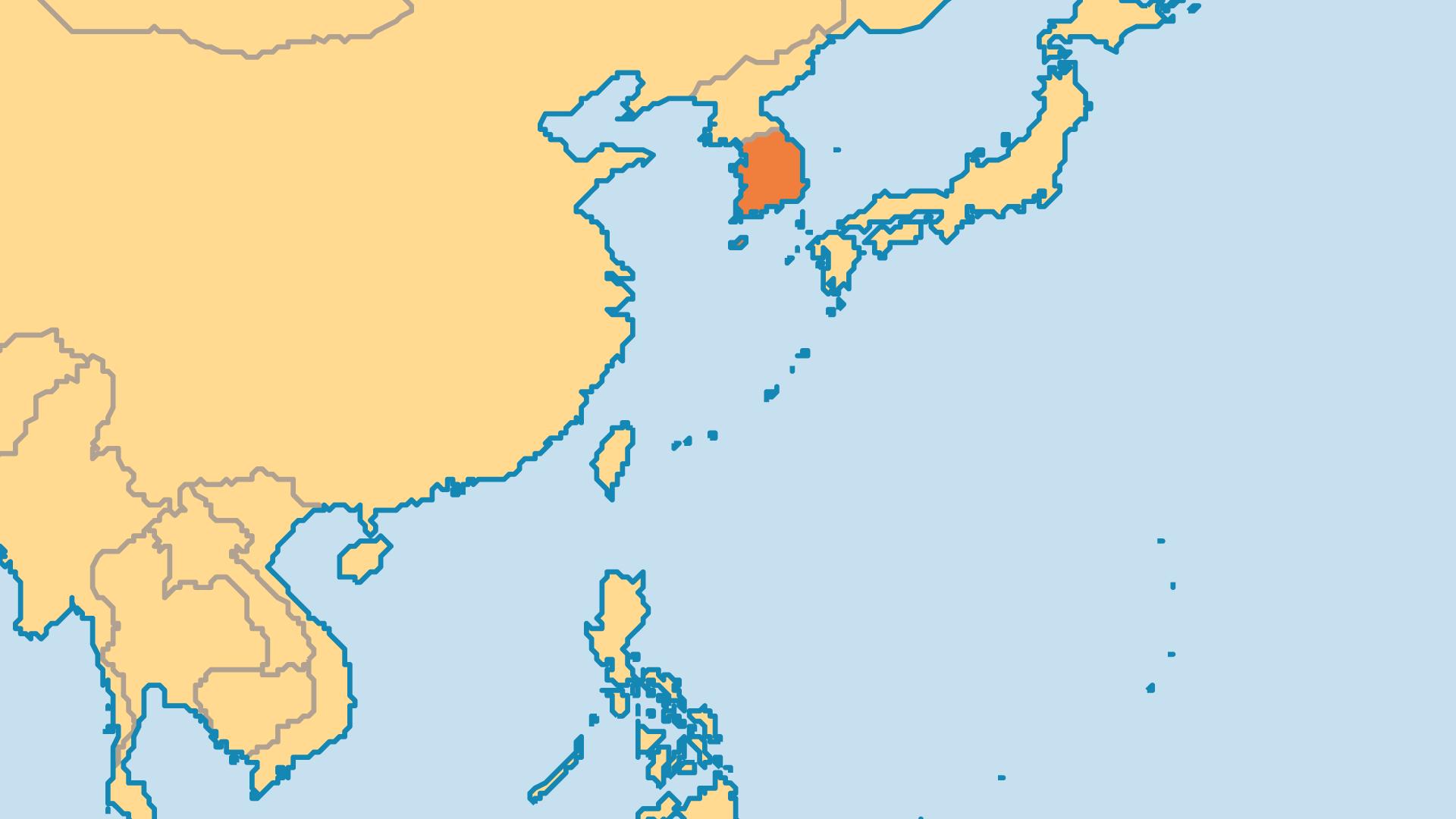 Locator Map for South Korea