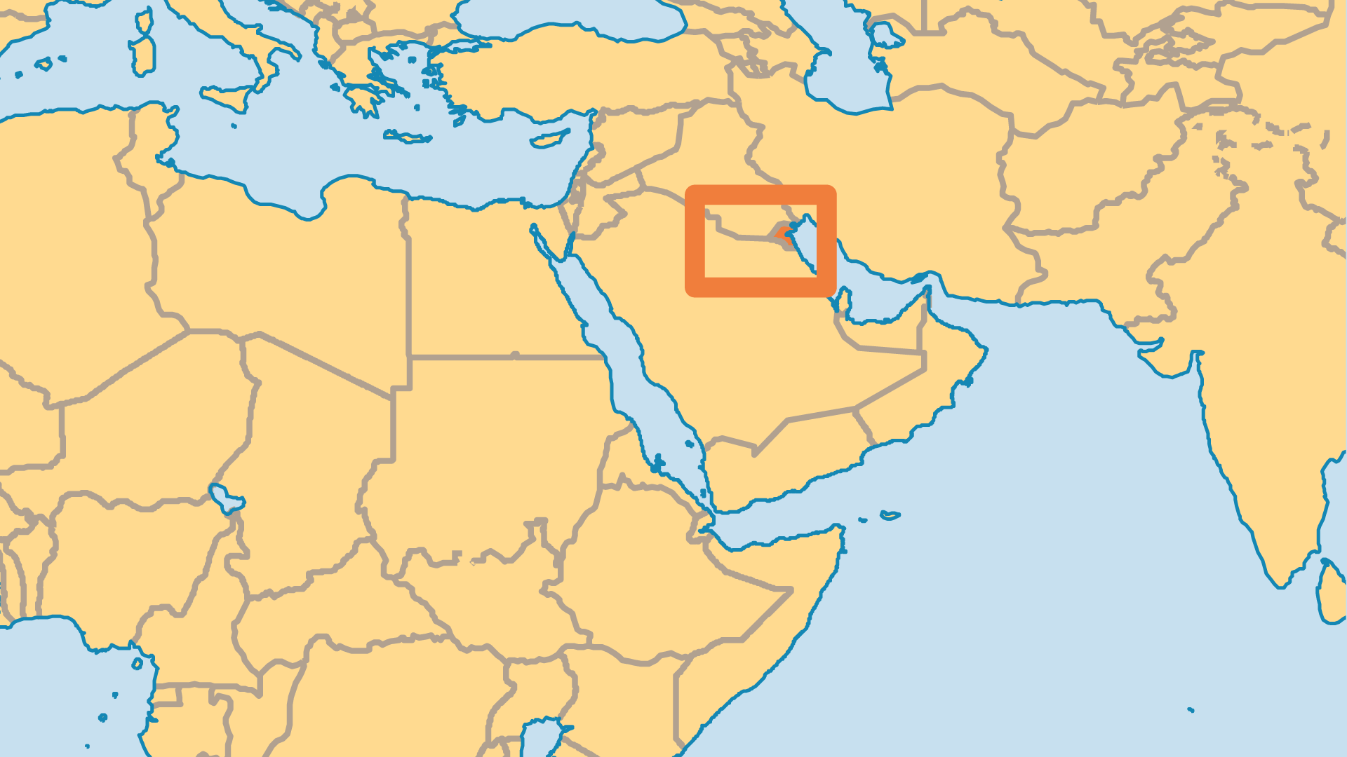 Locator Map for Kuwait