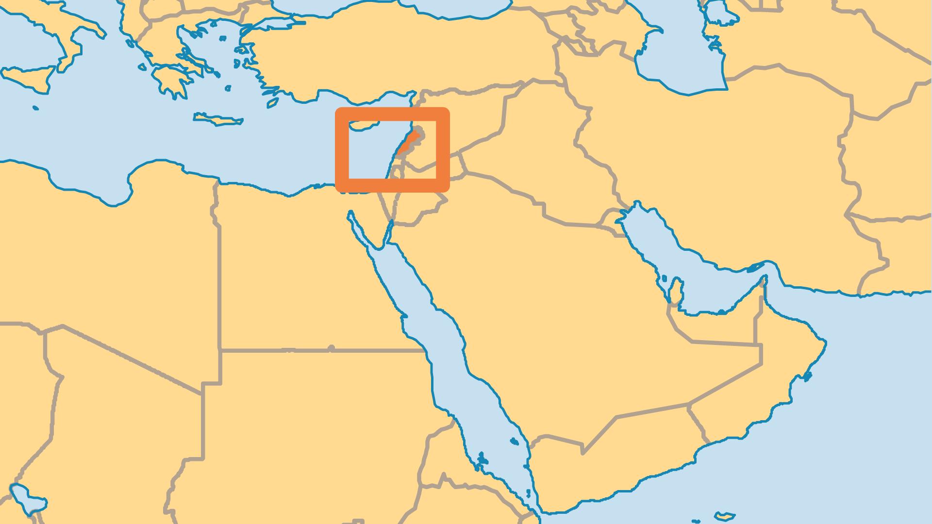Locator Map for Lebanon