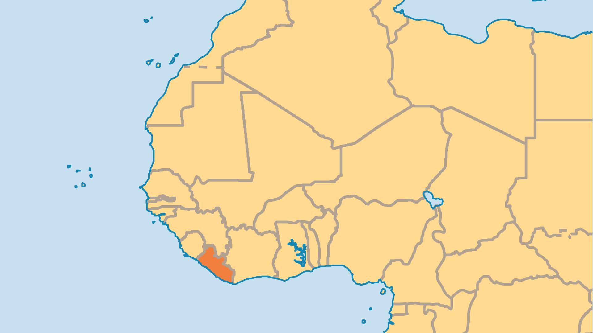 Locator Map for Liberia