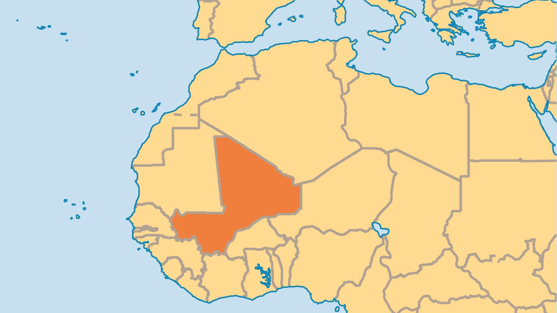 Locator Map for Mali