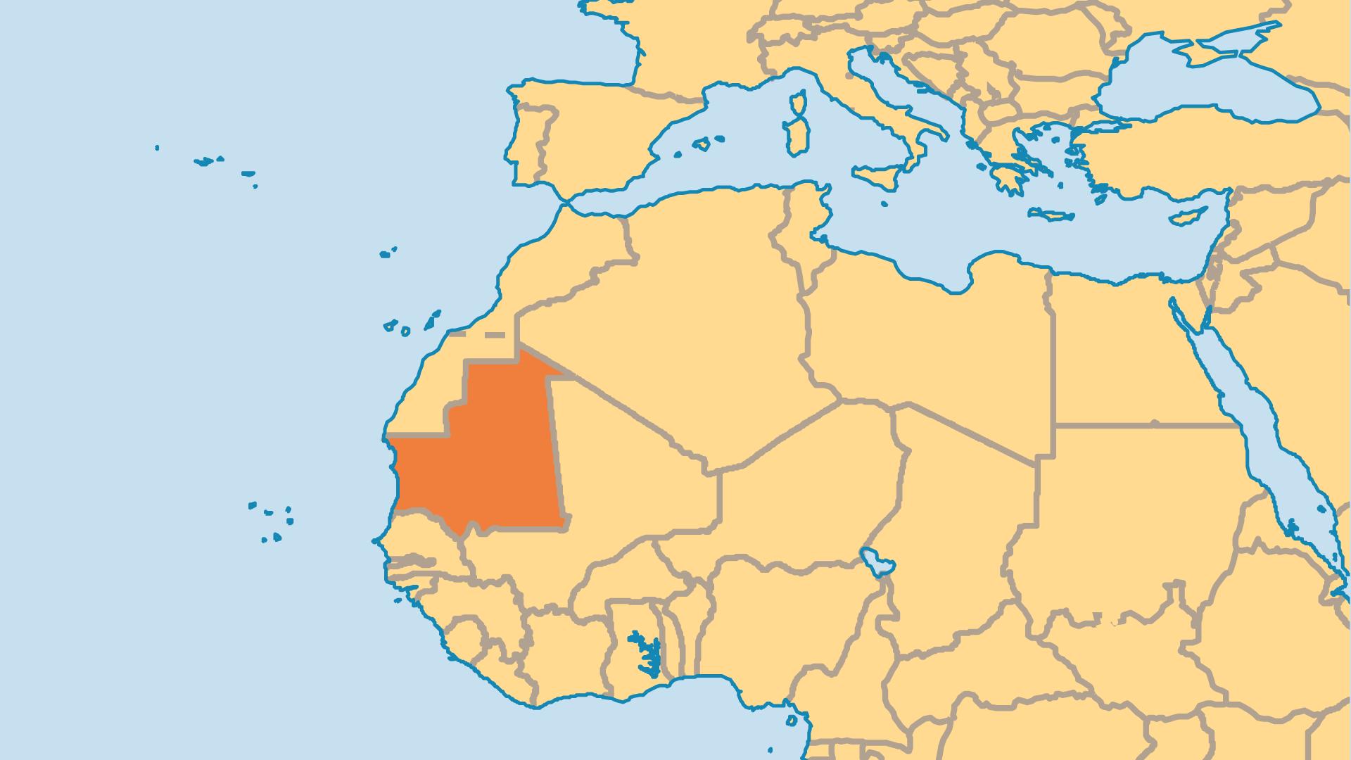 Locator Map for Mauritania