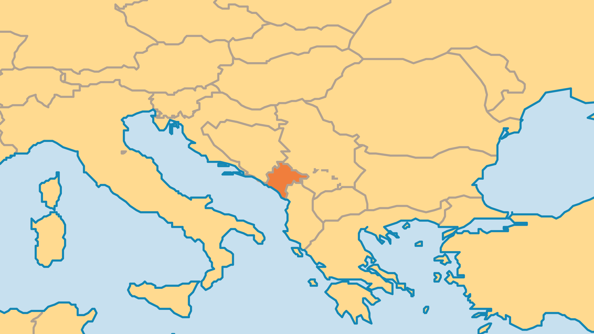 Locator Map for Montenegro