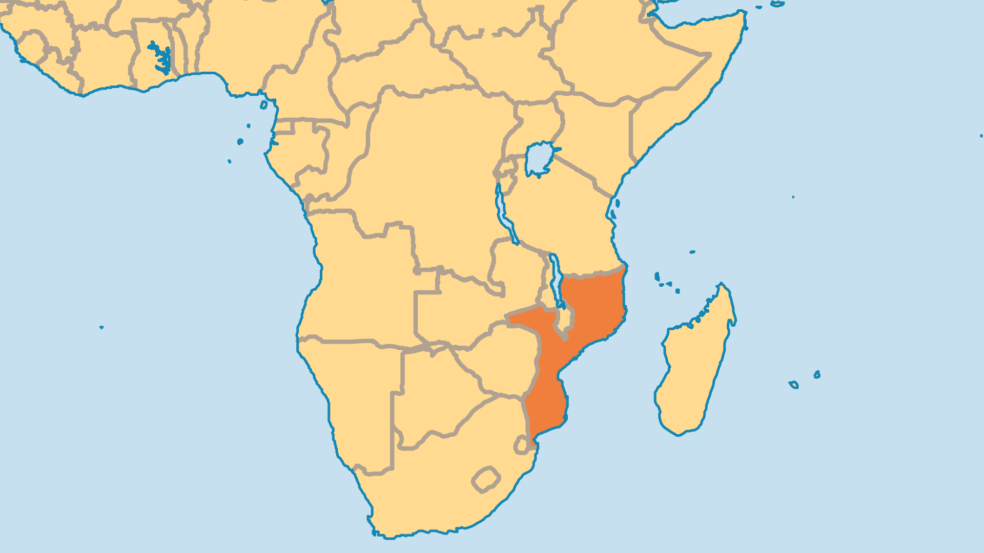 Locator Map for Mozambique