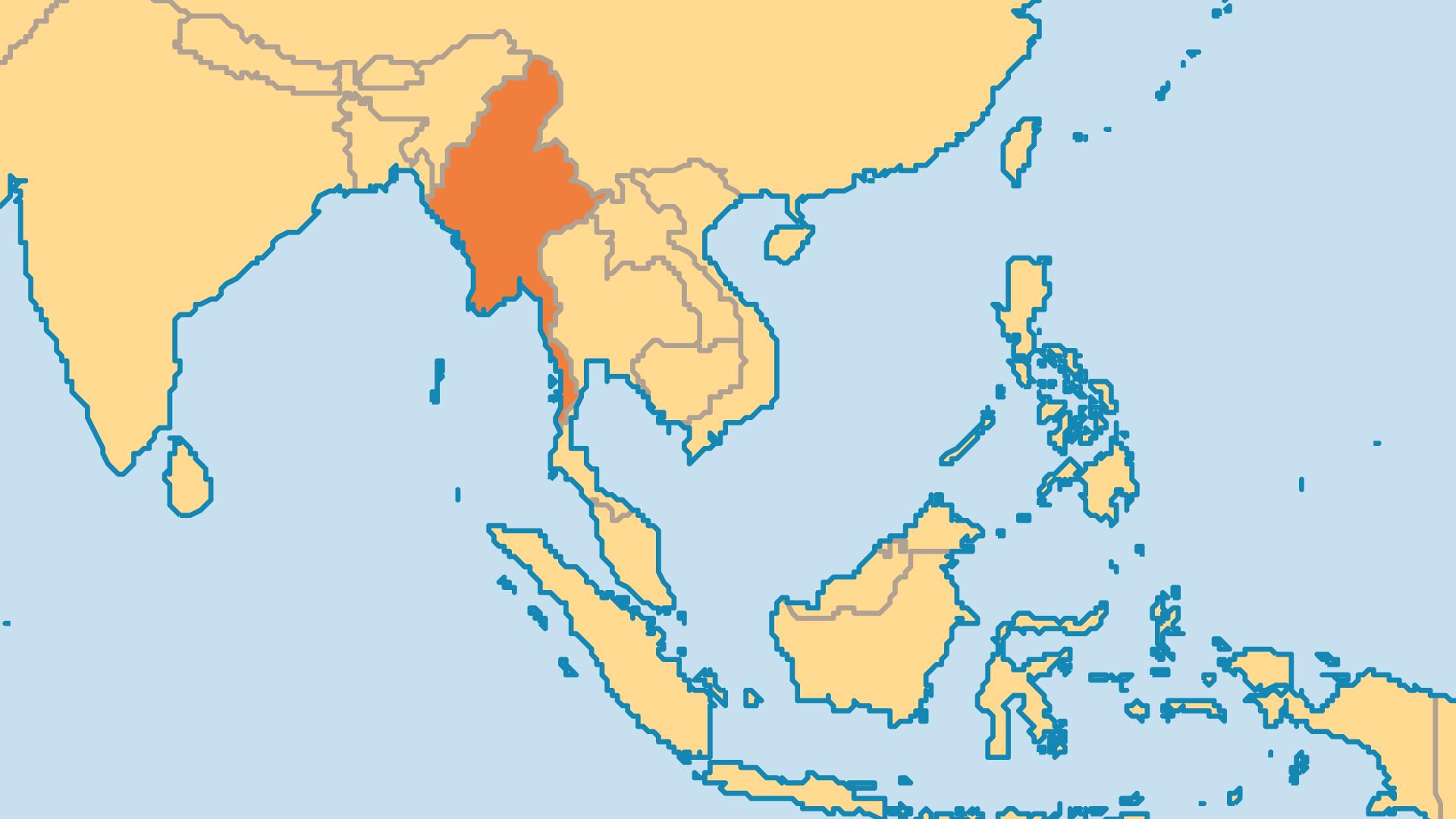 Locator Map for Myanmar