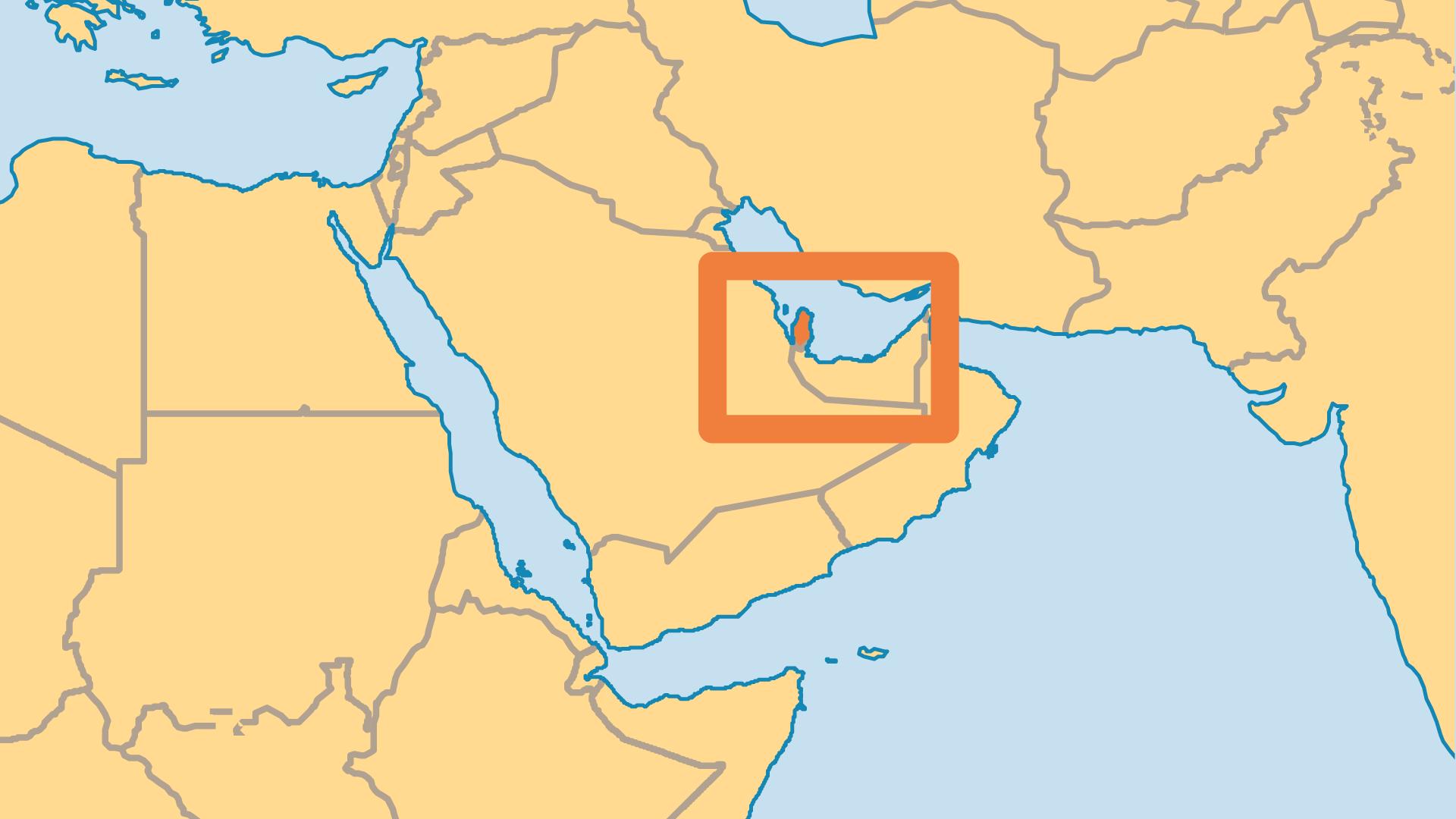 Locator Map for Qatar