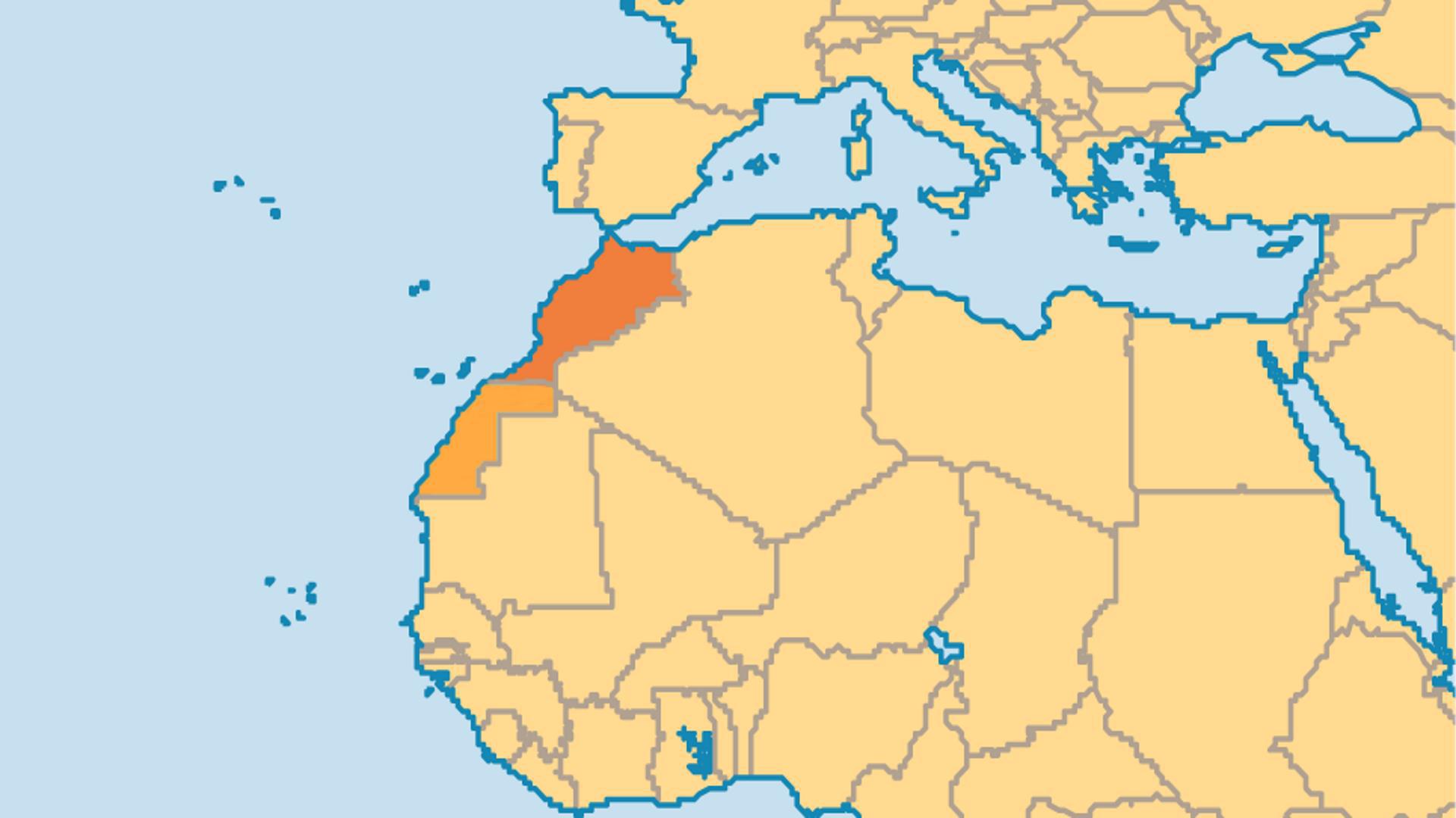 Locator Map for Western Sahara