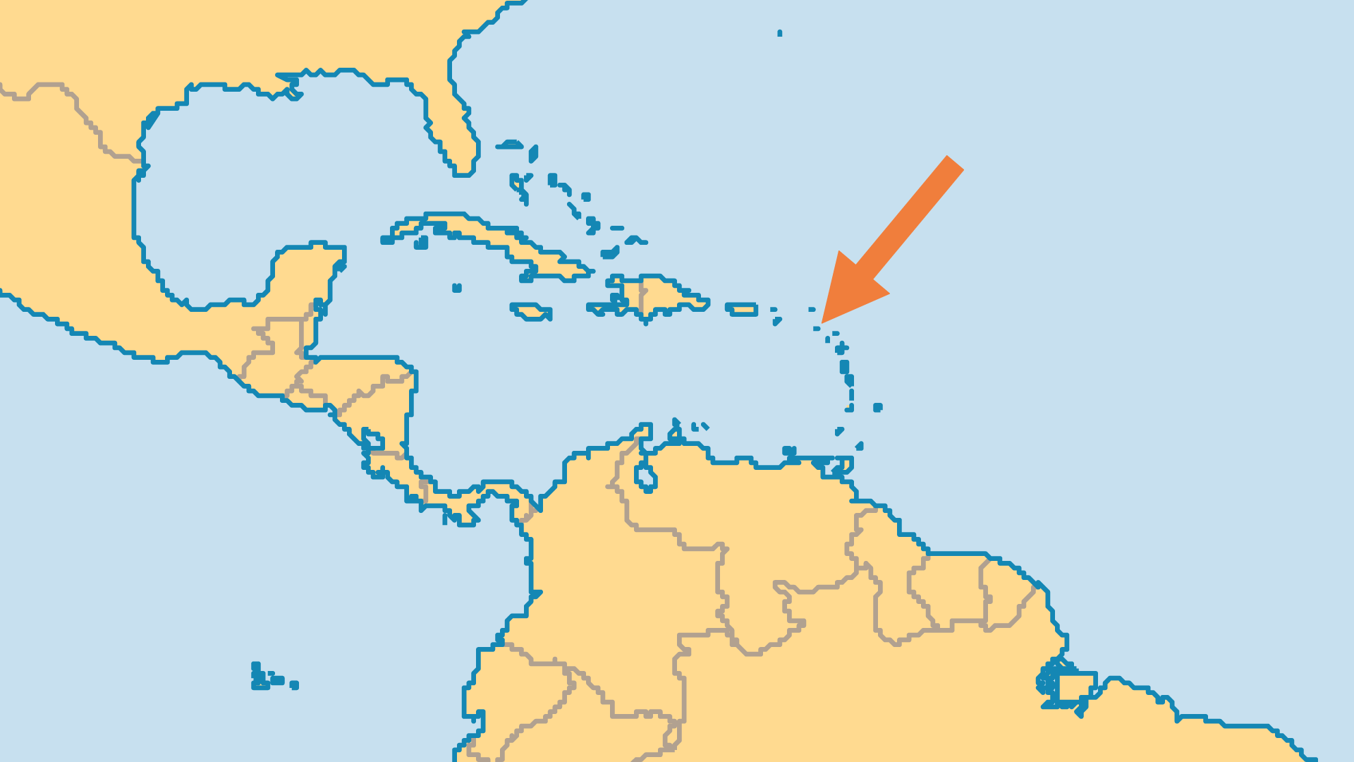 Locator Map for Saint Kitts & Nevis