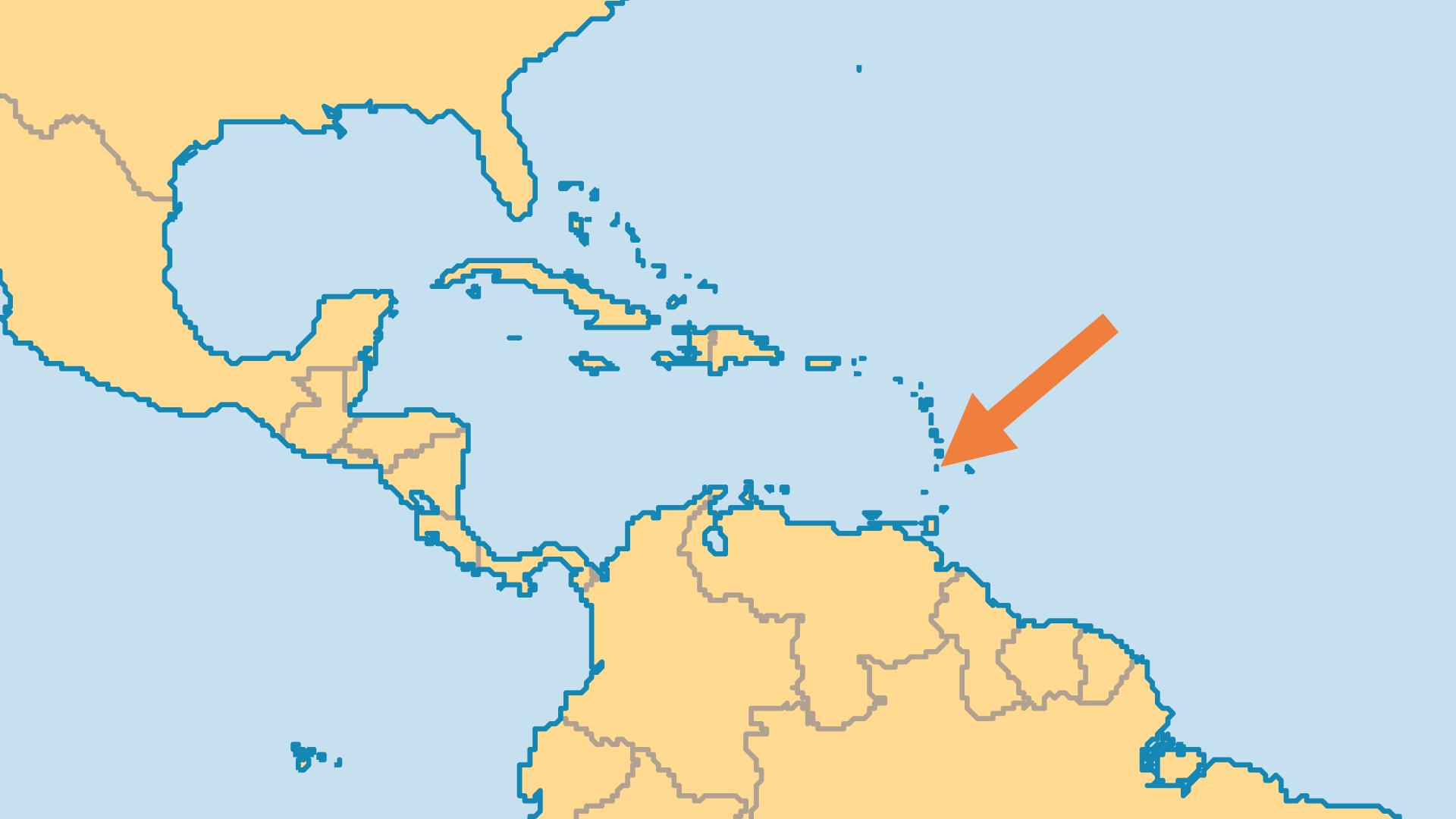 Locator Map for Saint Vincent