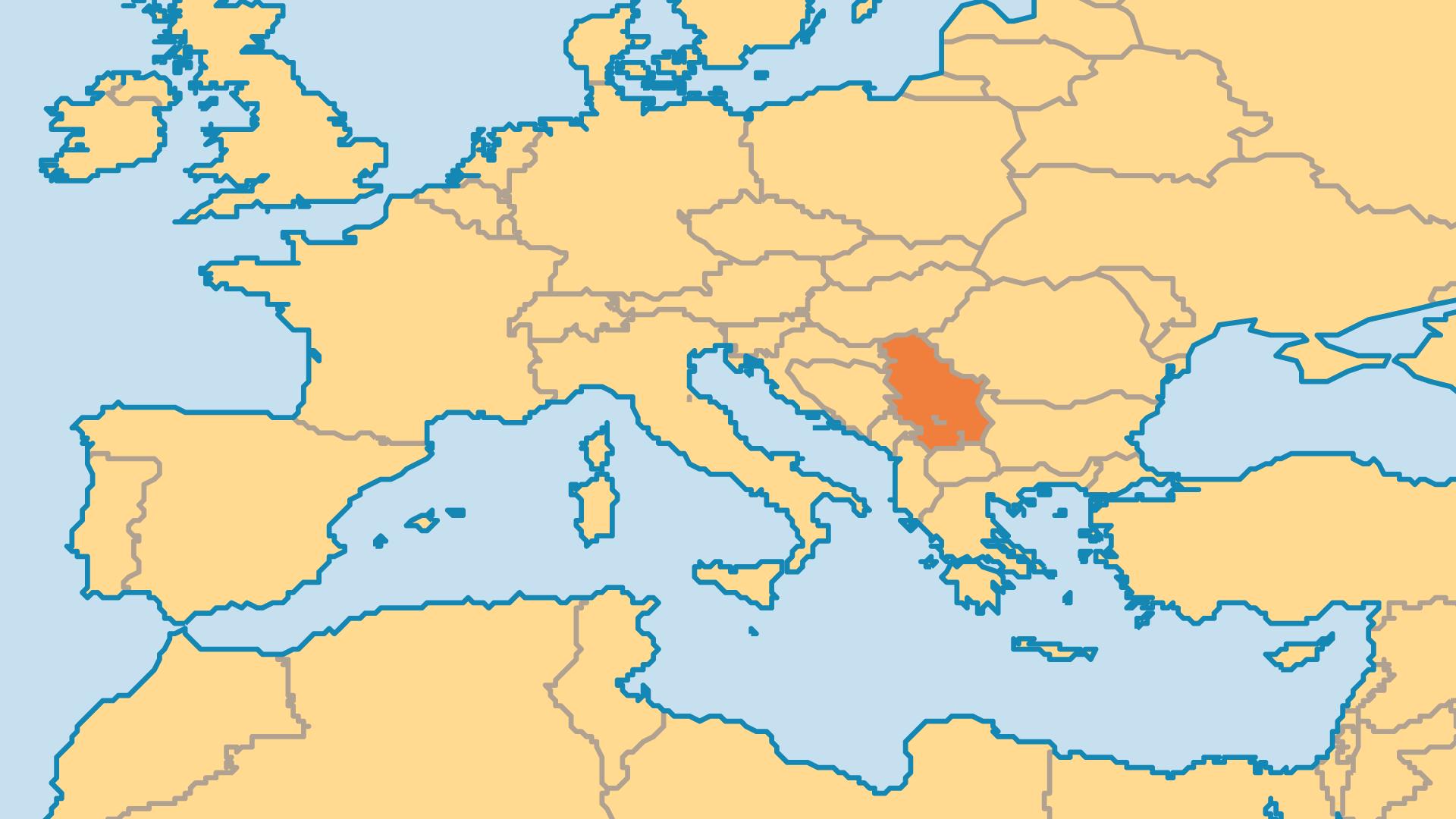 Locator Map for Kosovo