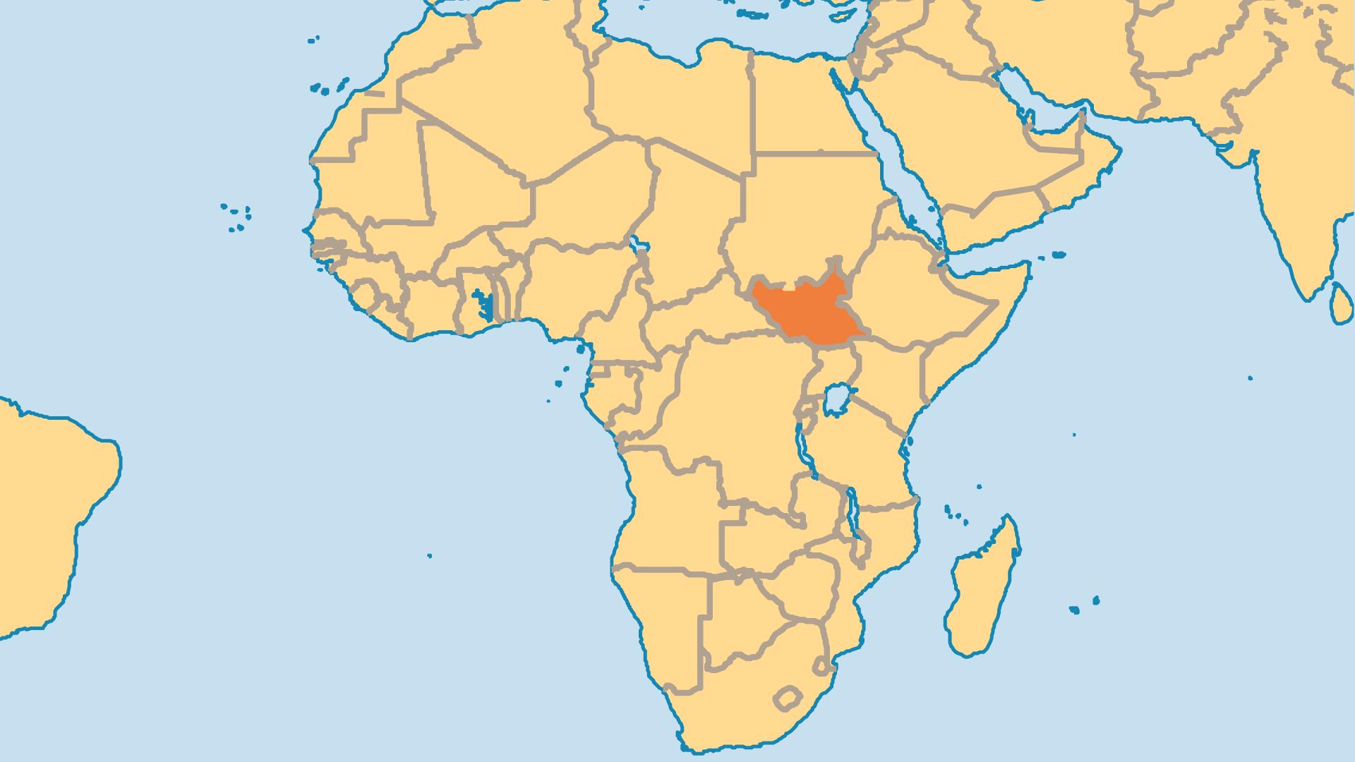 Locator Map for South Sudan