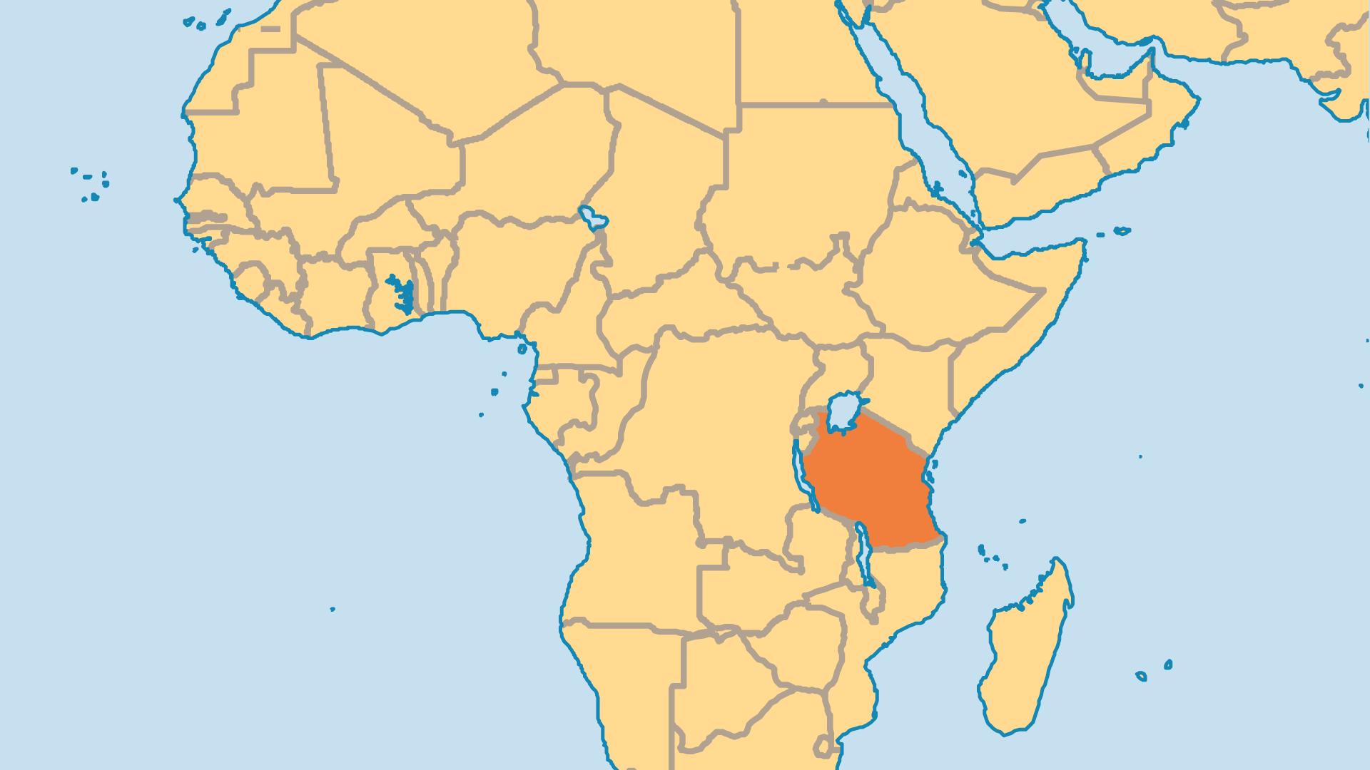 Locator Map for Tanzania