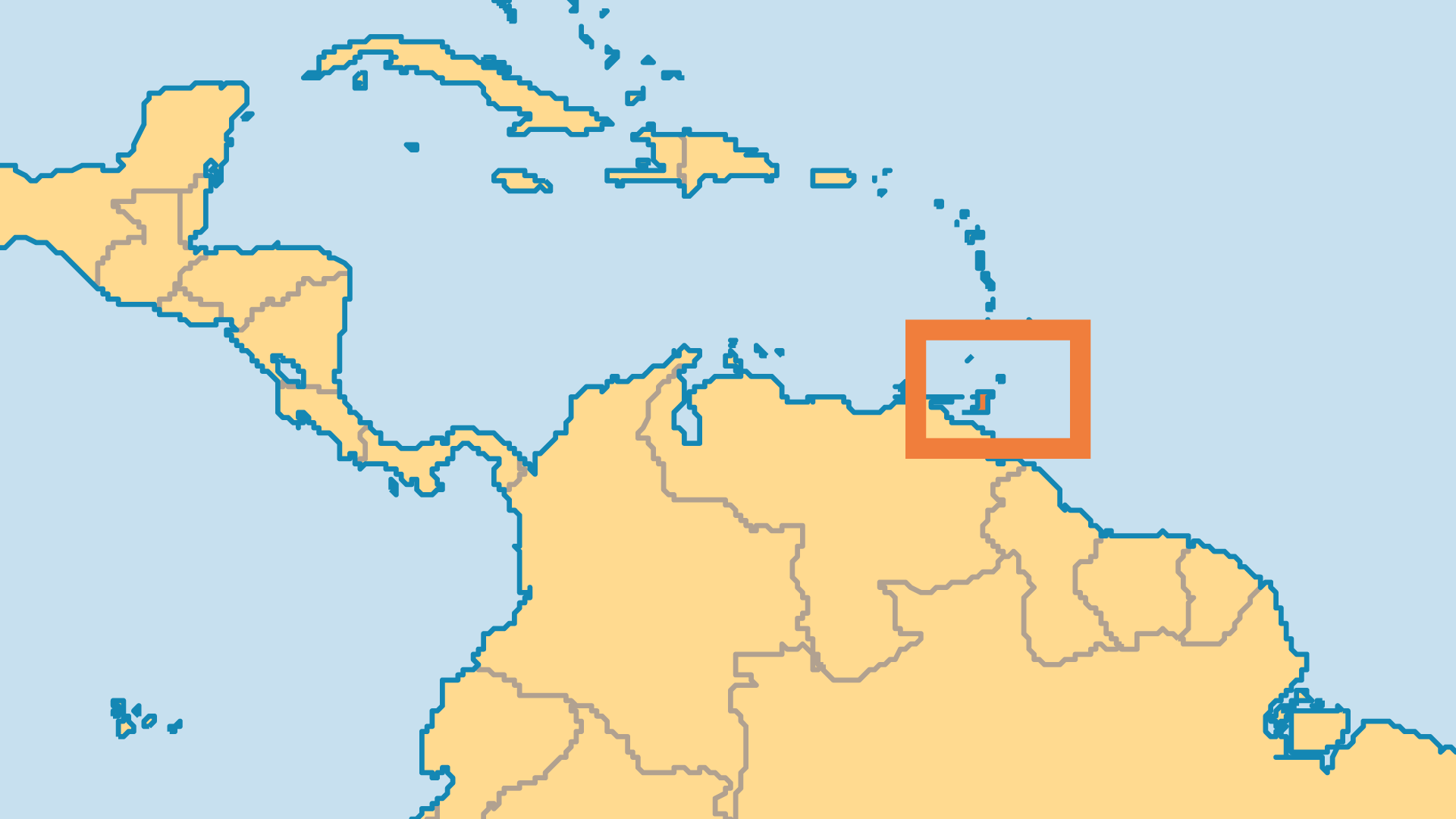 Locator Map for Trinidad & Tobago