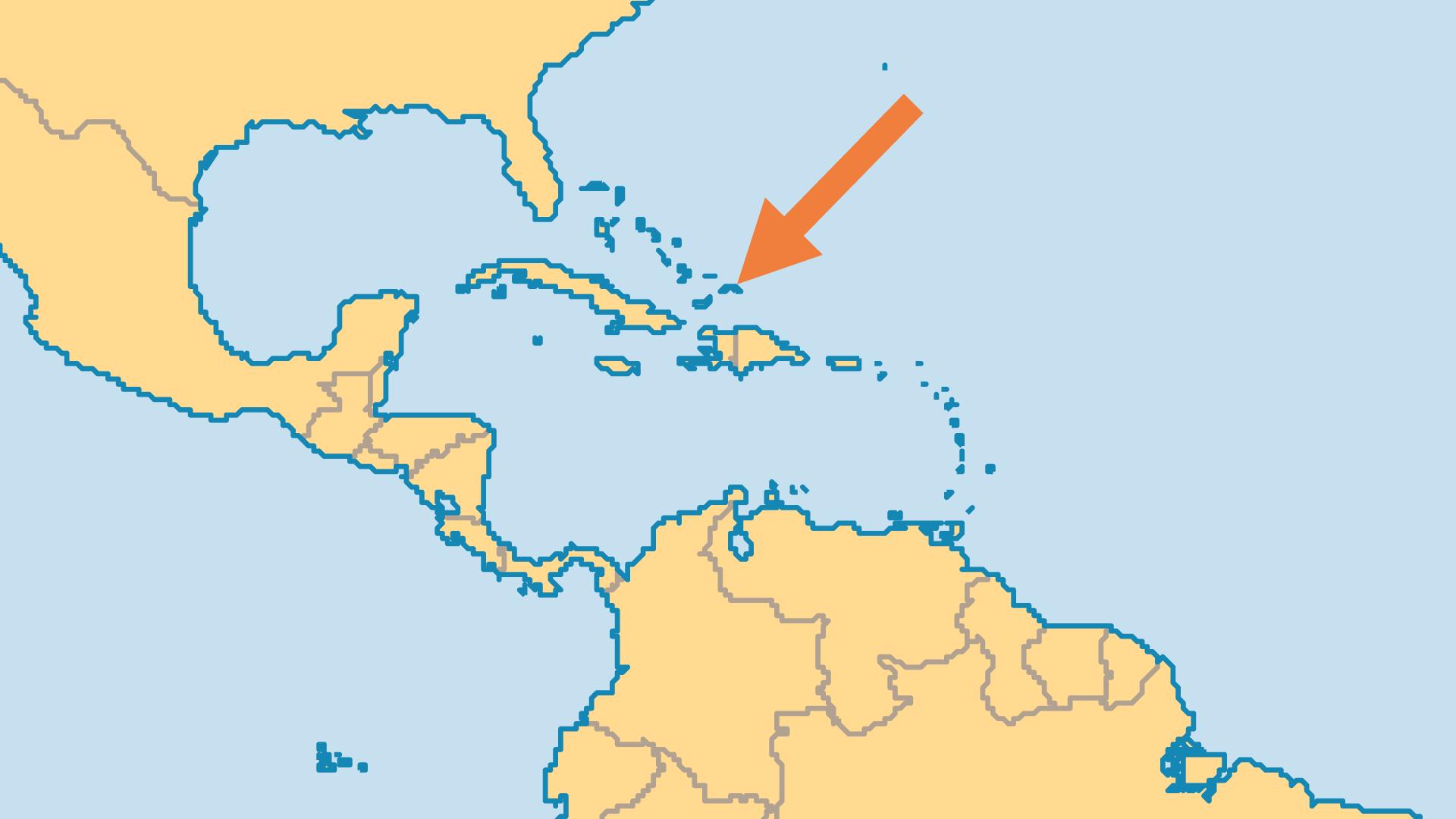 Locator Map for Turks & Caicos Islands