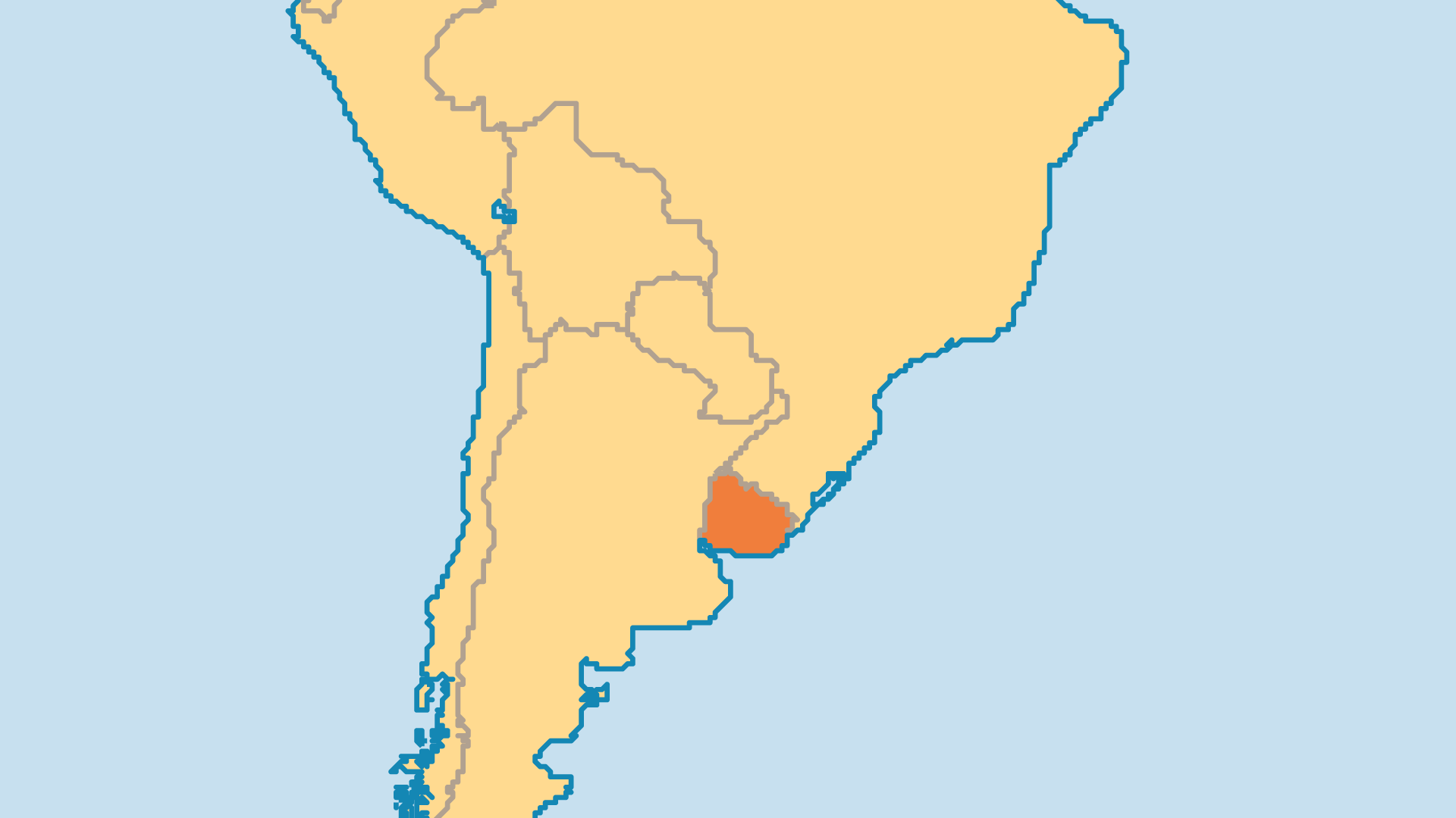 Locator Map for Uruguay