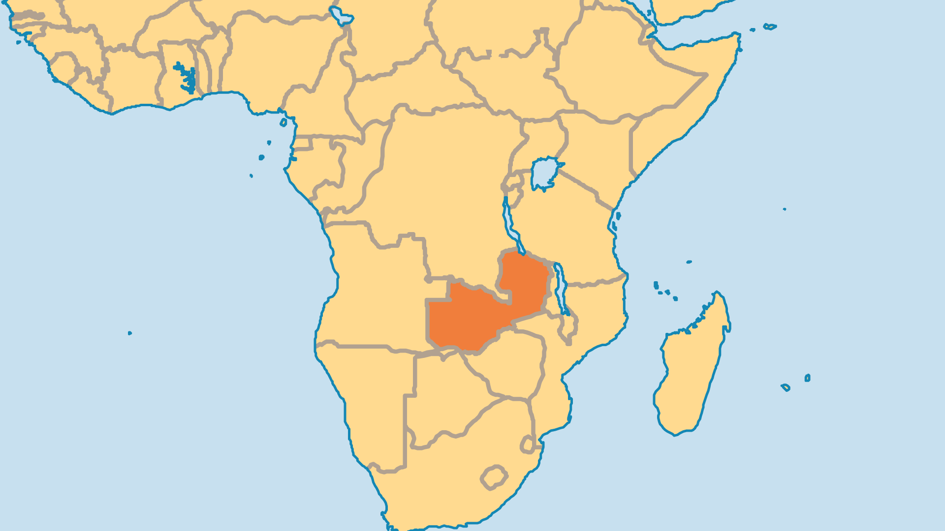 Locator Map for Zambia