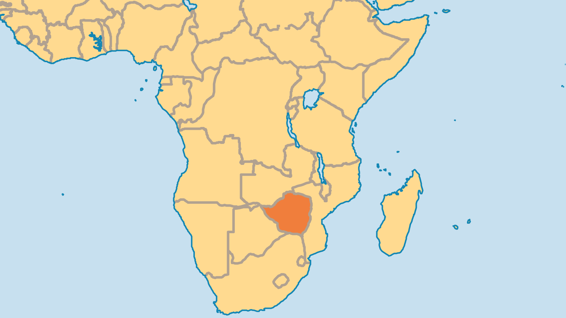 Locator Map for Zimbabwe