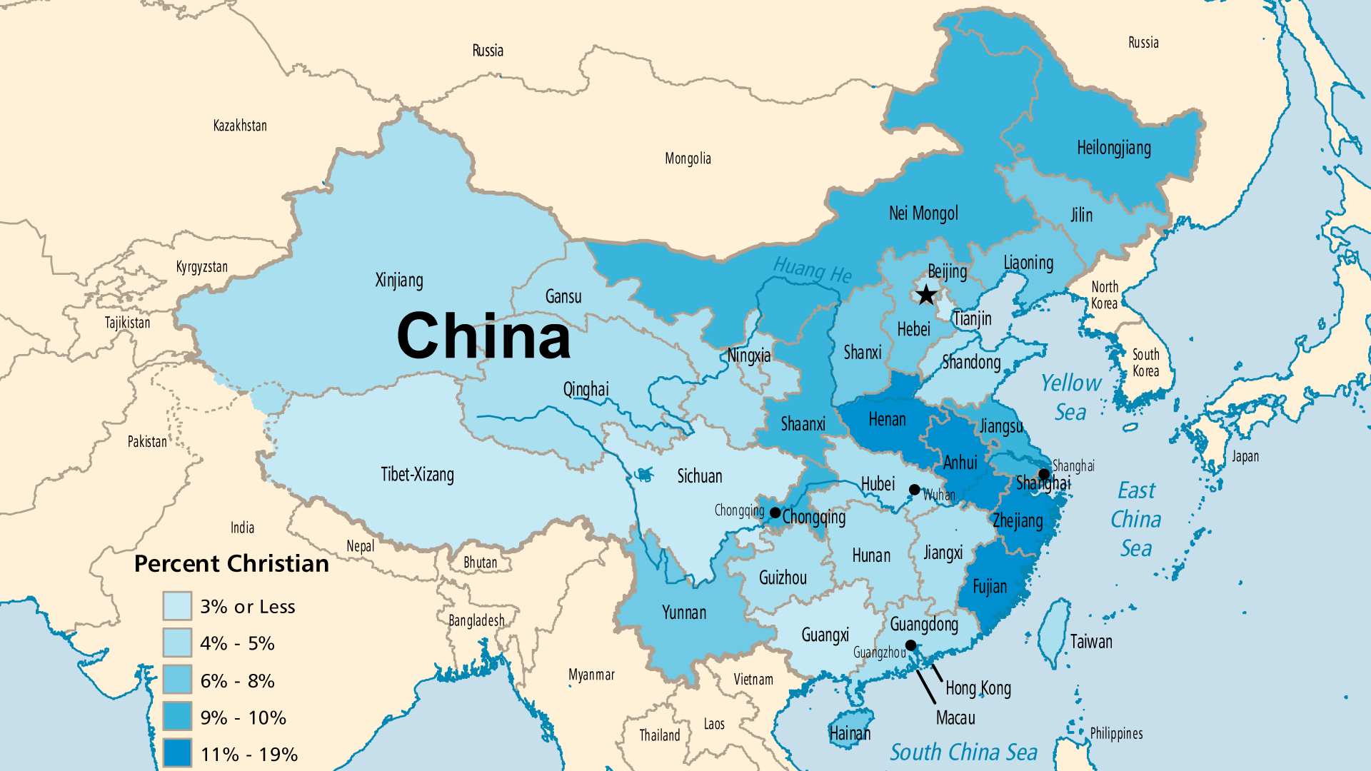 Detailed Map for People's Republic of China