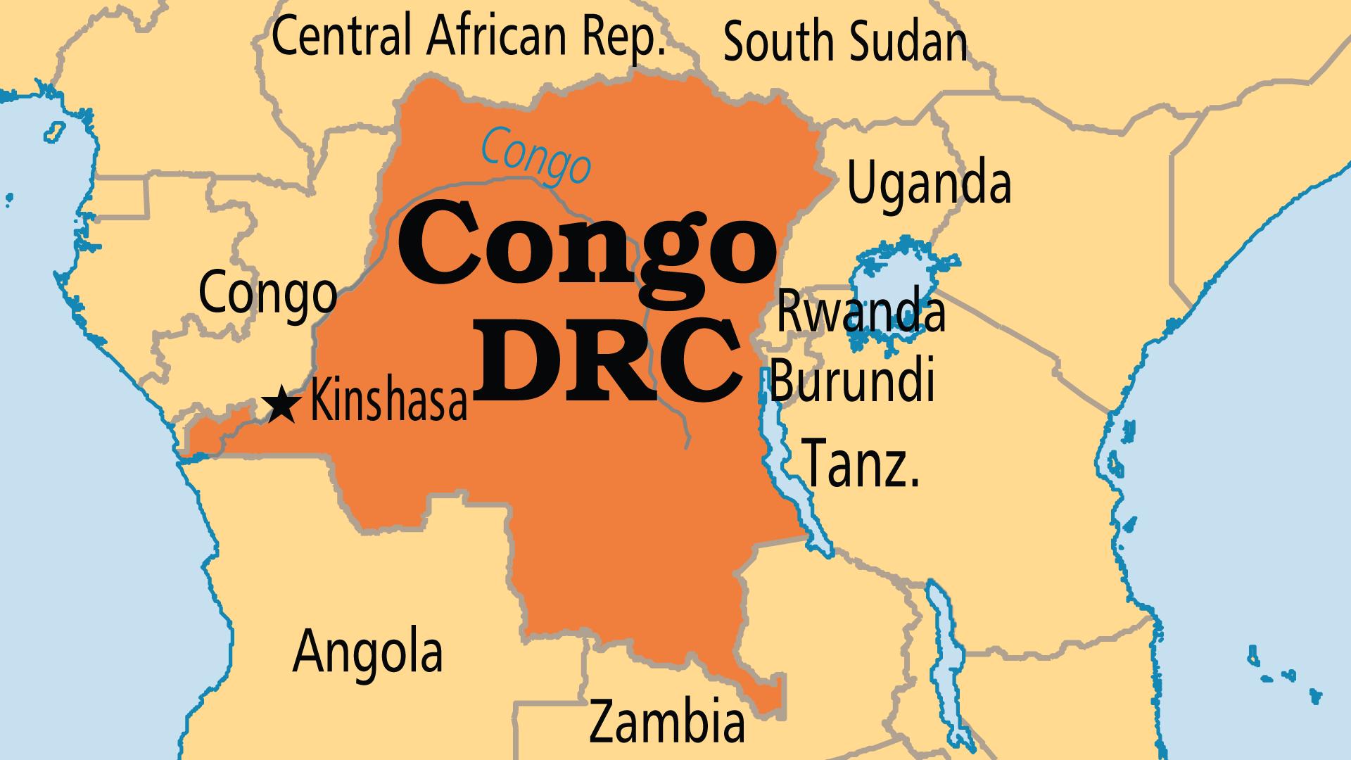 Map of Democratic Republic of Congo (DRC)