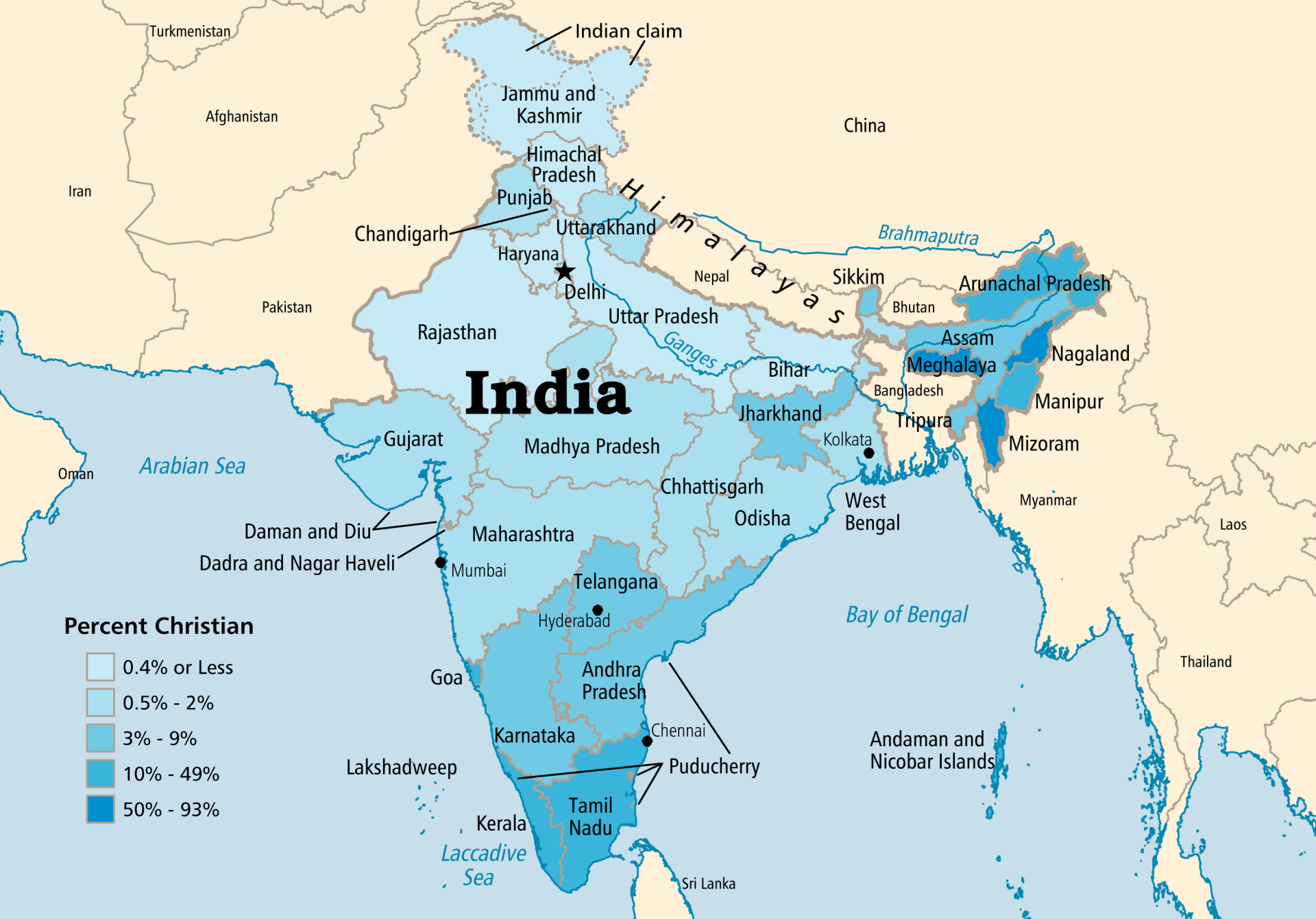 Detailed Map for India