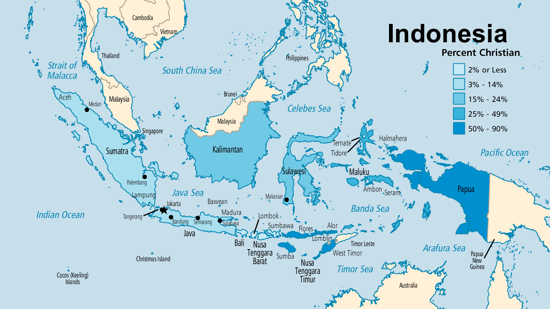Detailed Map for Indonesia