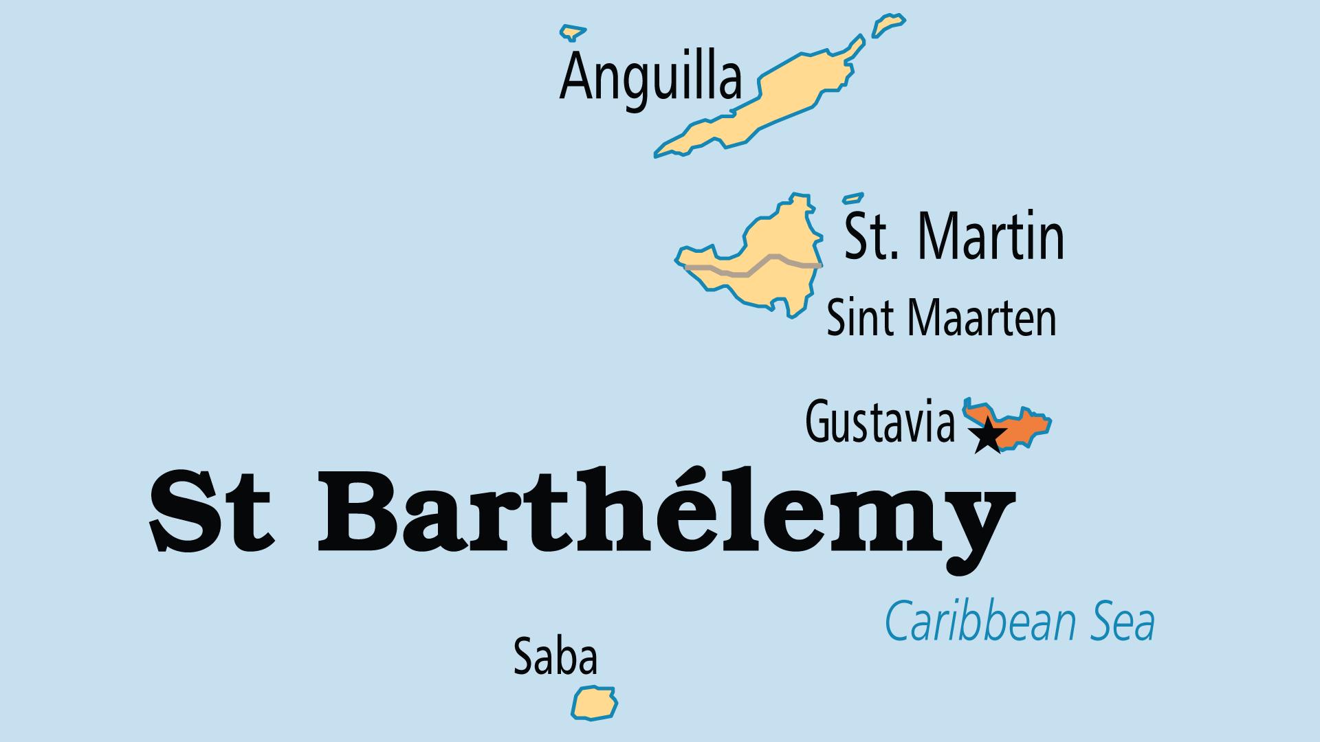 Map of Saint Barthelemy
