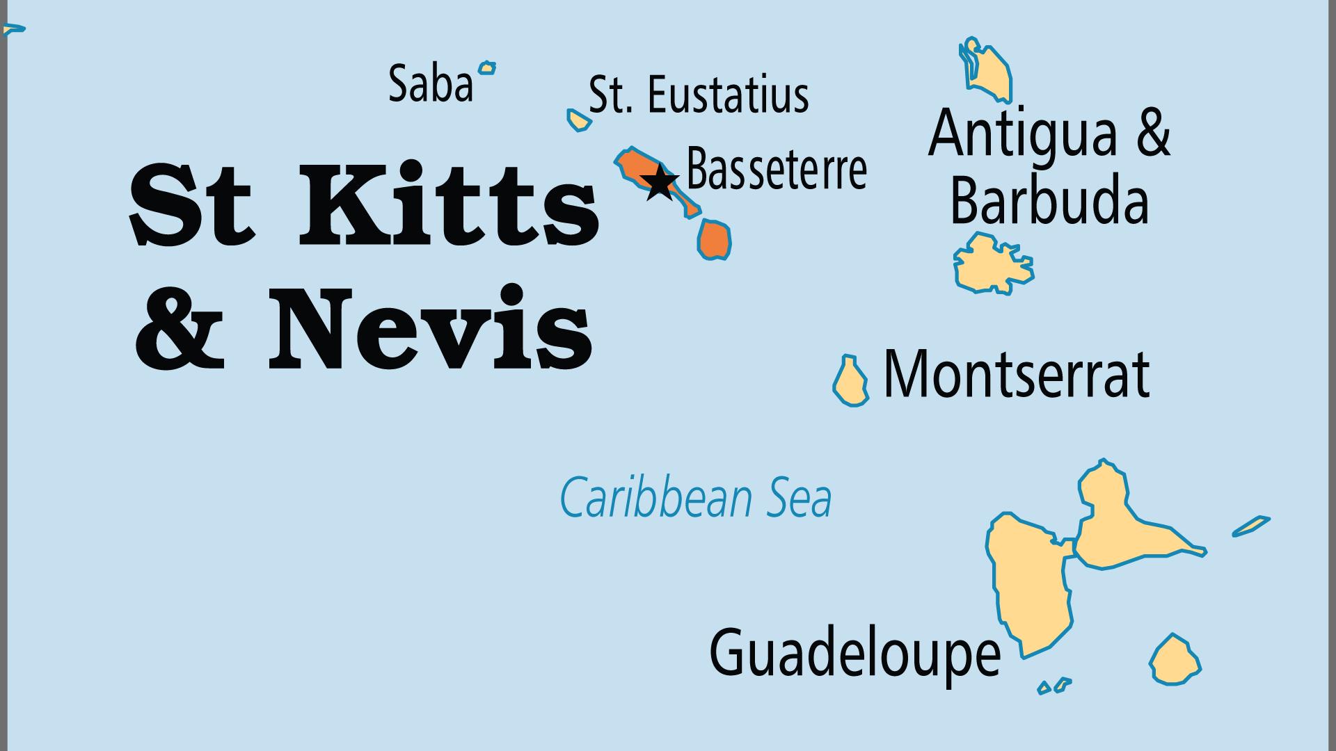 Map of Saint Kitts & Nevis