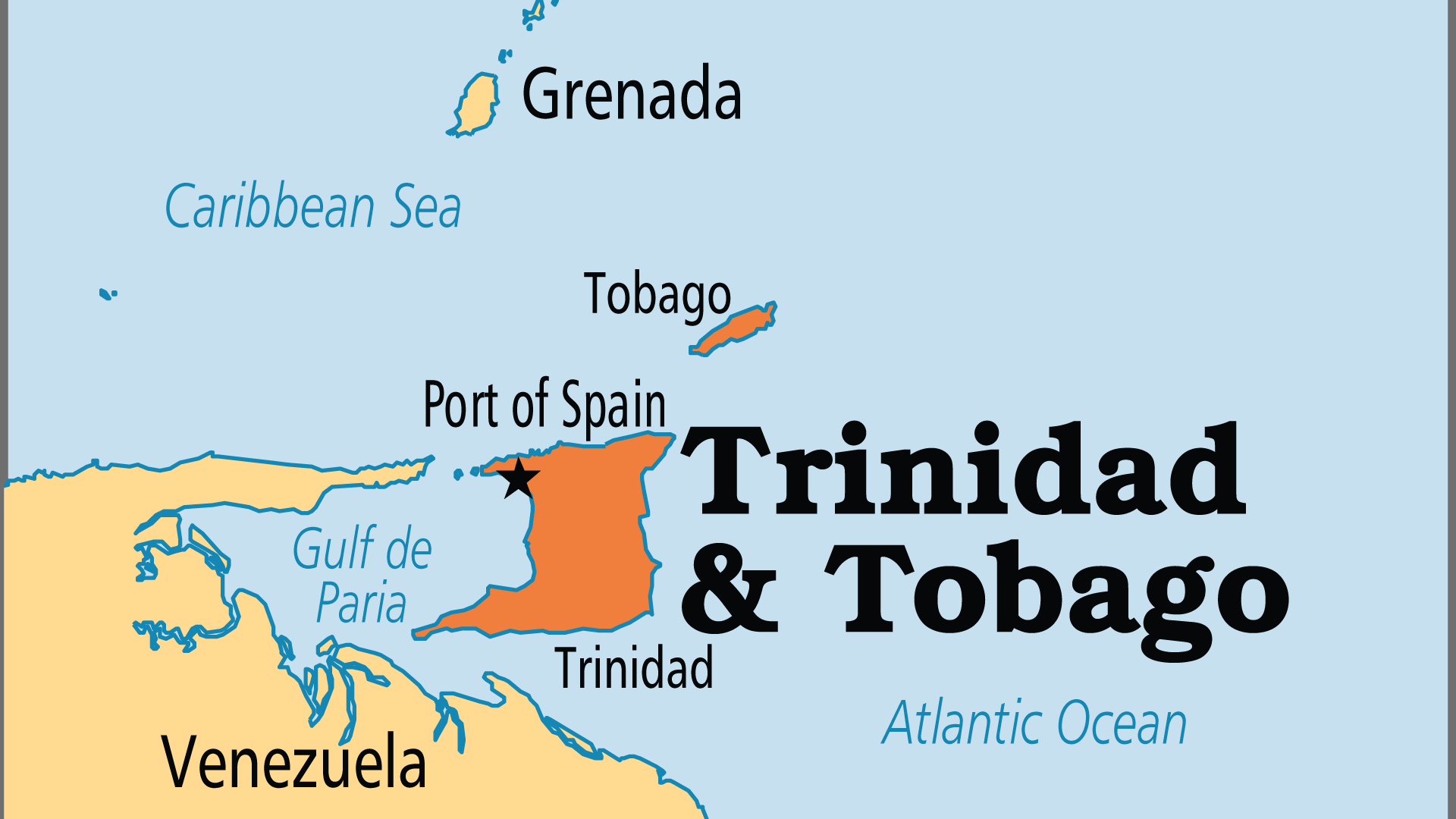 Map of Trinidad & Tobago